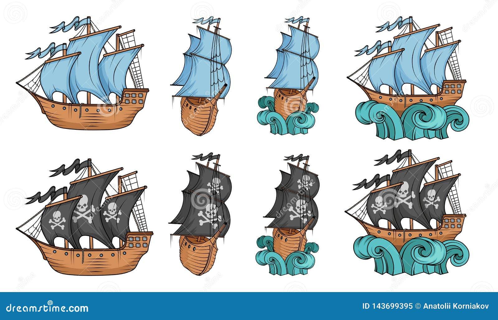 设置帆船和风船 在白色背景隔绝的商业风船 盗版有黑风帆的风船船