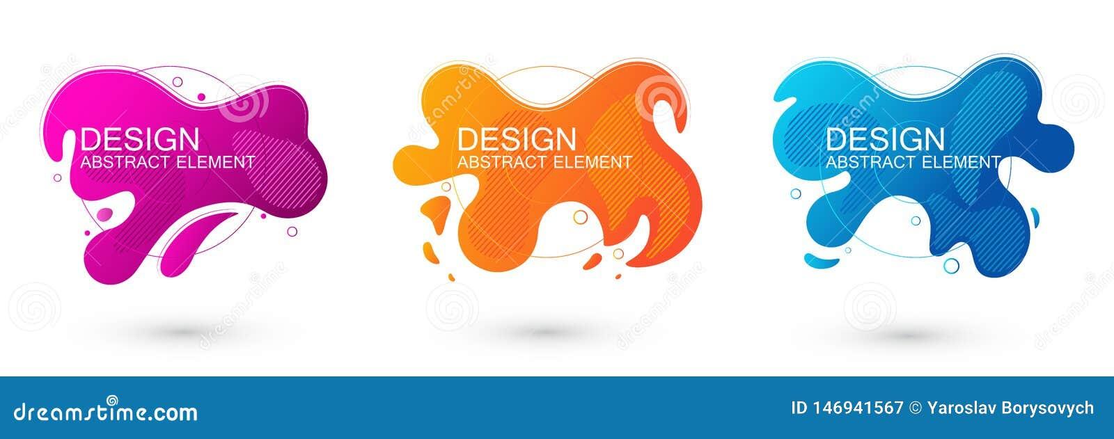 设置抽象液体形状图表元素 五颜六色的梯度可变的设计 介绍的,商标,横幅模板 r