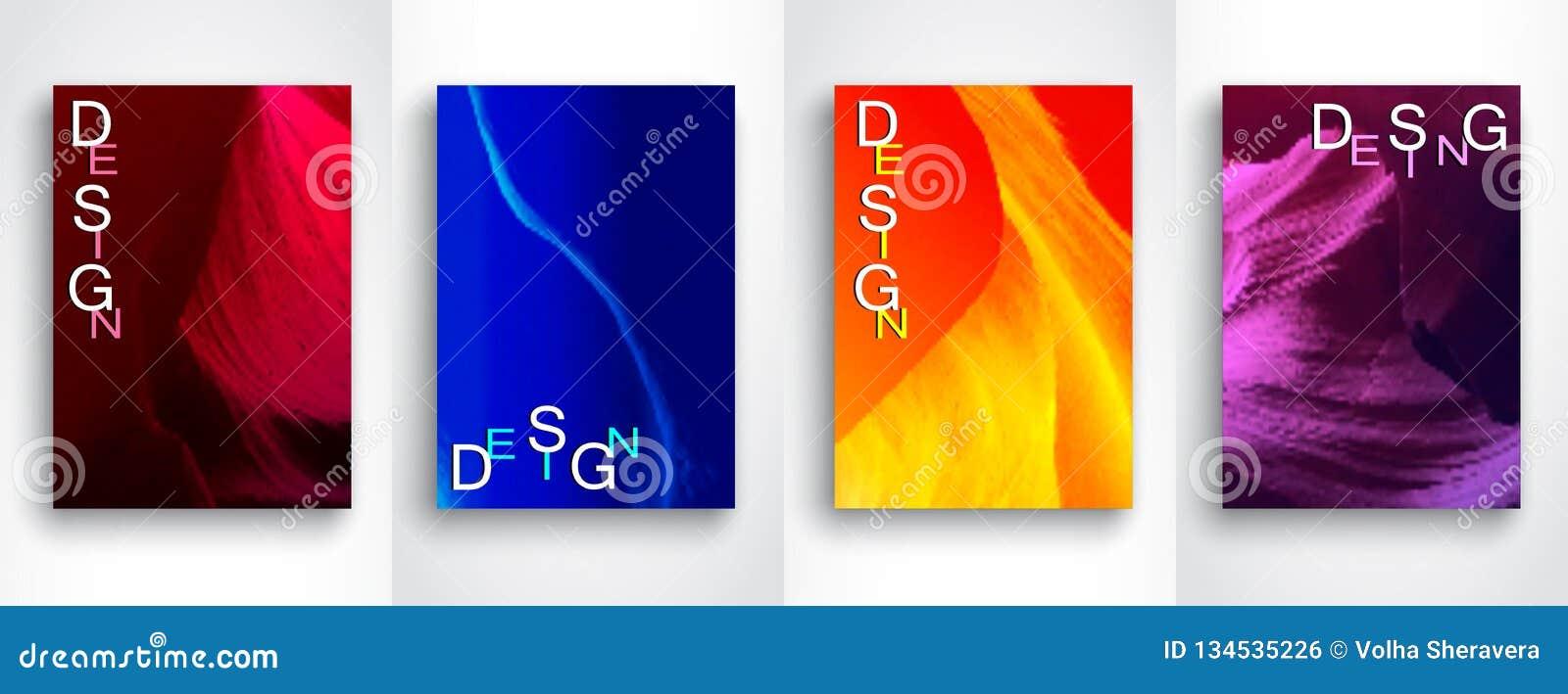 设置抽象现代背景 未来几何梯度背景 设置在A4大小的4块传染媒介模板