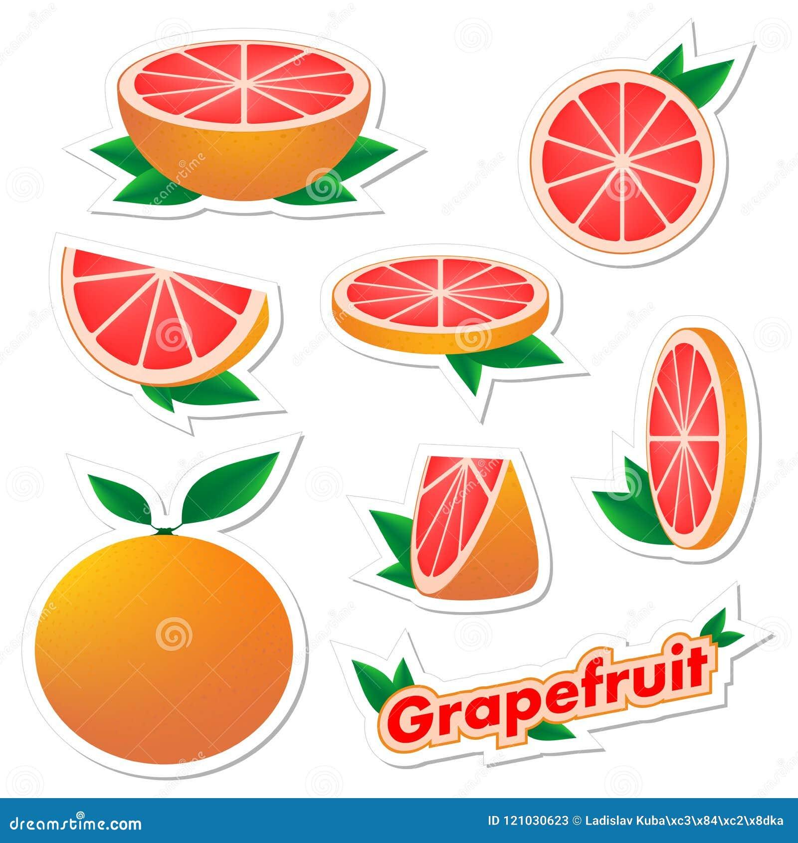 设置新鲜的柑橘贴纸与皮肤的切的和整个葡萄柚果子与在白色背景的绿色叶子 h的概念