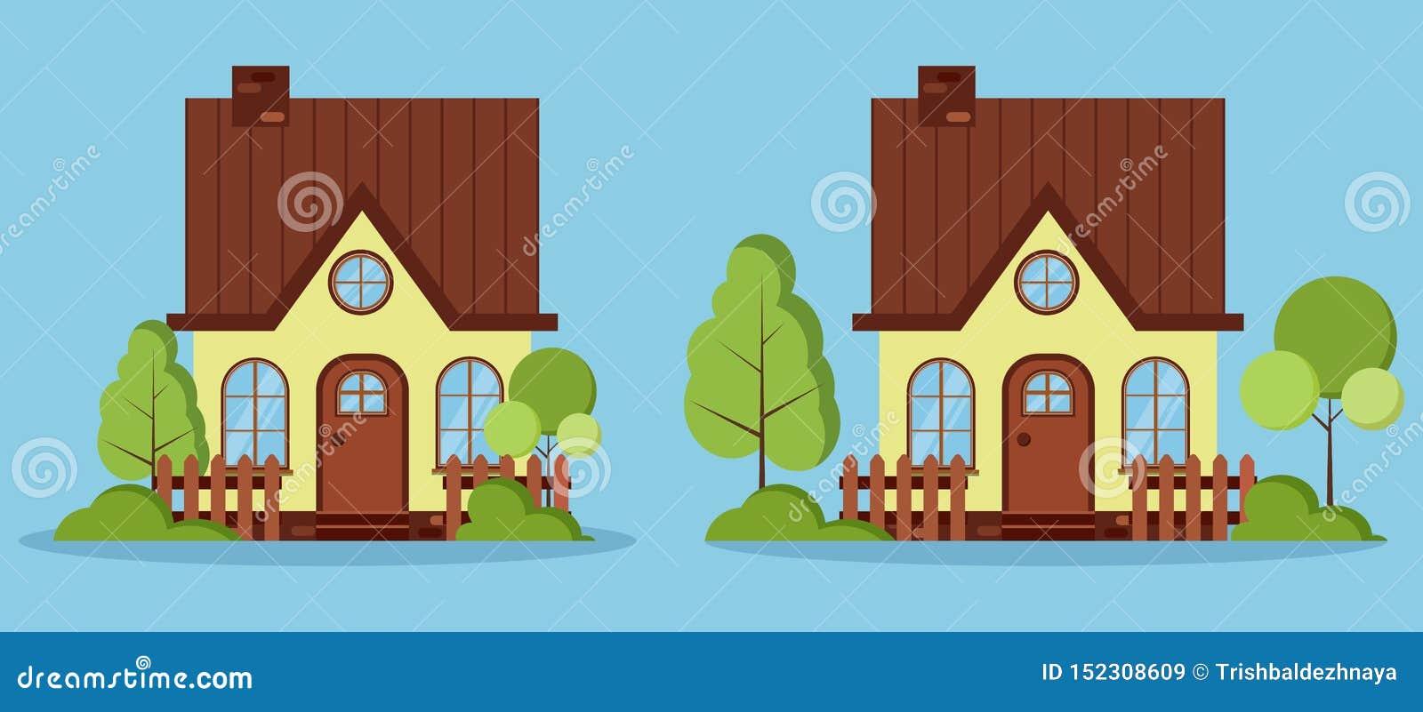 设置有顶楼的,烟囱,篱芭被隔绝的美丽的农村农厂美妙的房子