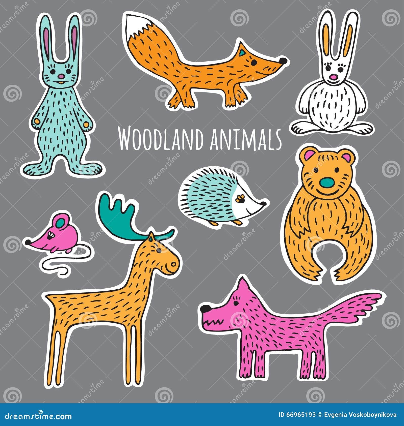 库存例证: 设置森林动物图片