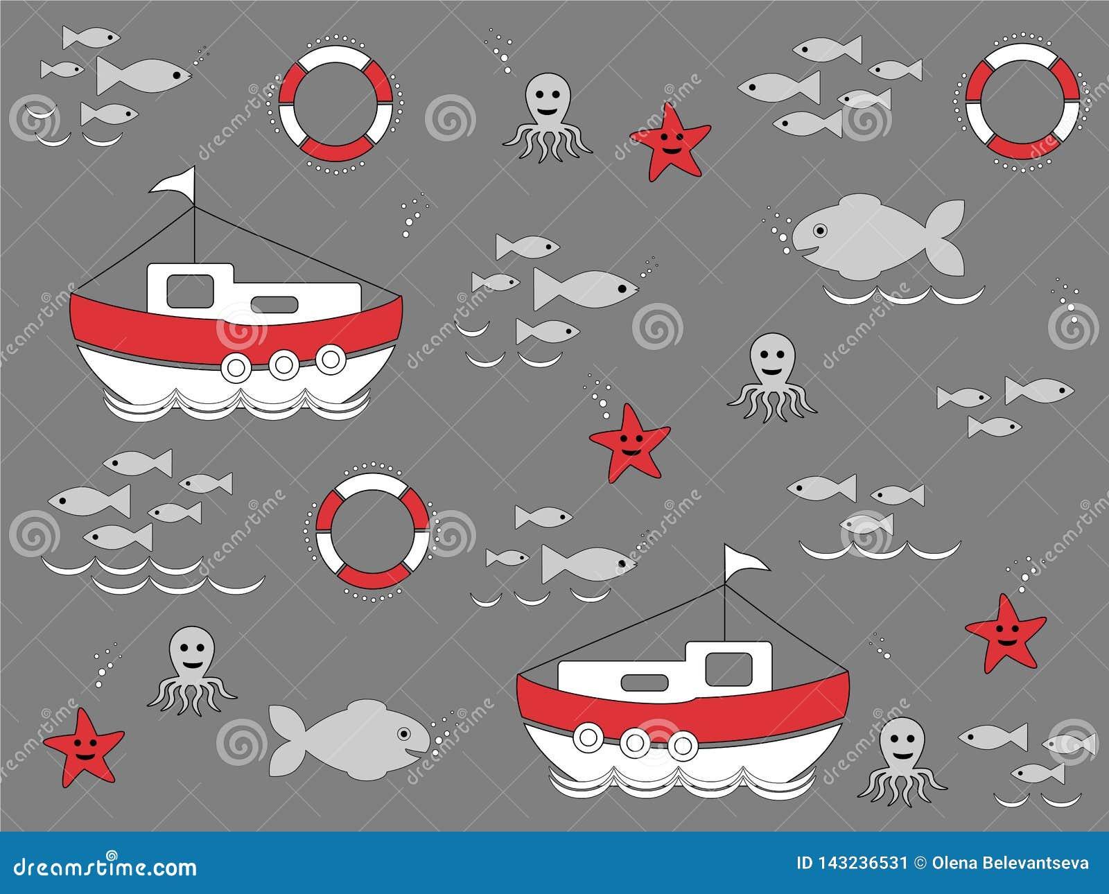 设置海洋生活象,无缝的墙纸的例证