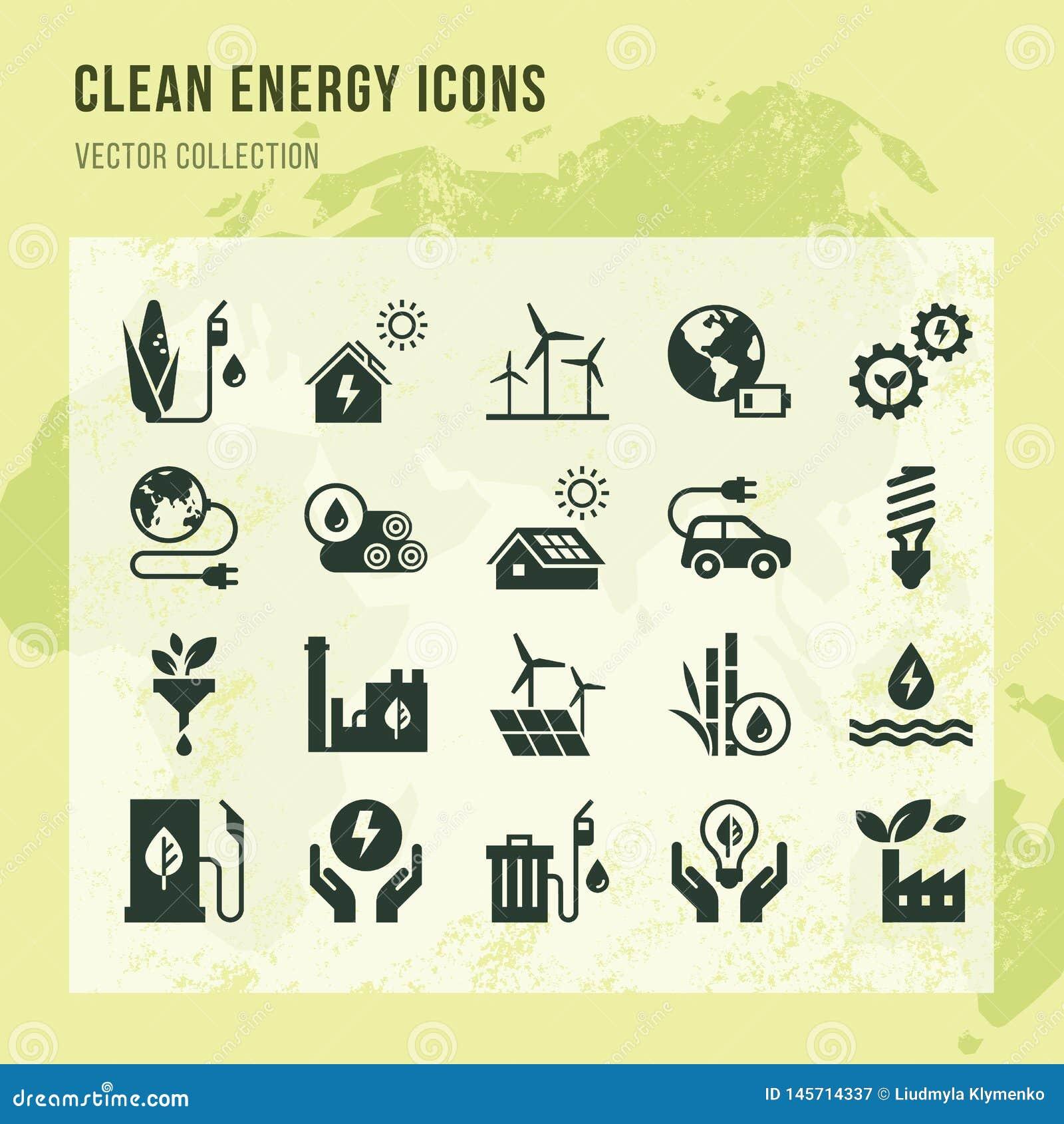 设置清洁能源在平的样式的传染媒介象