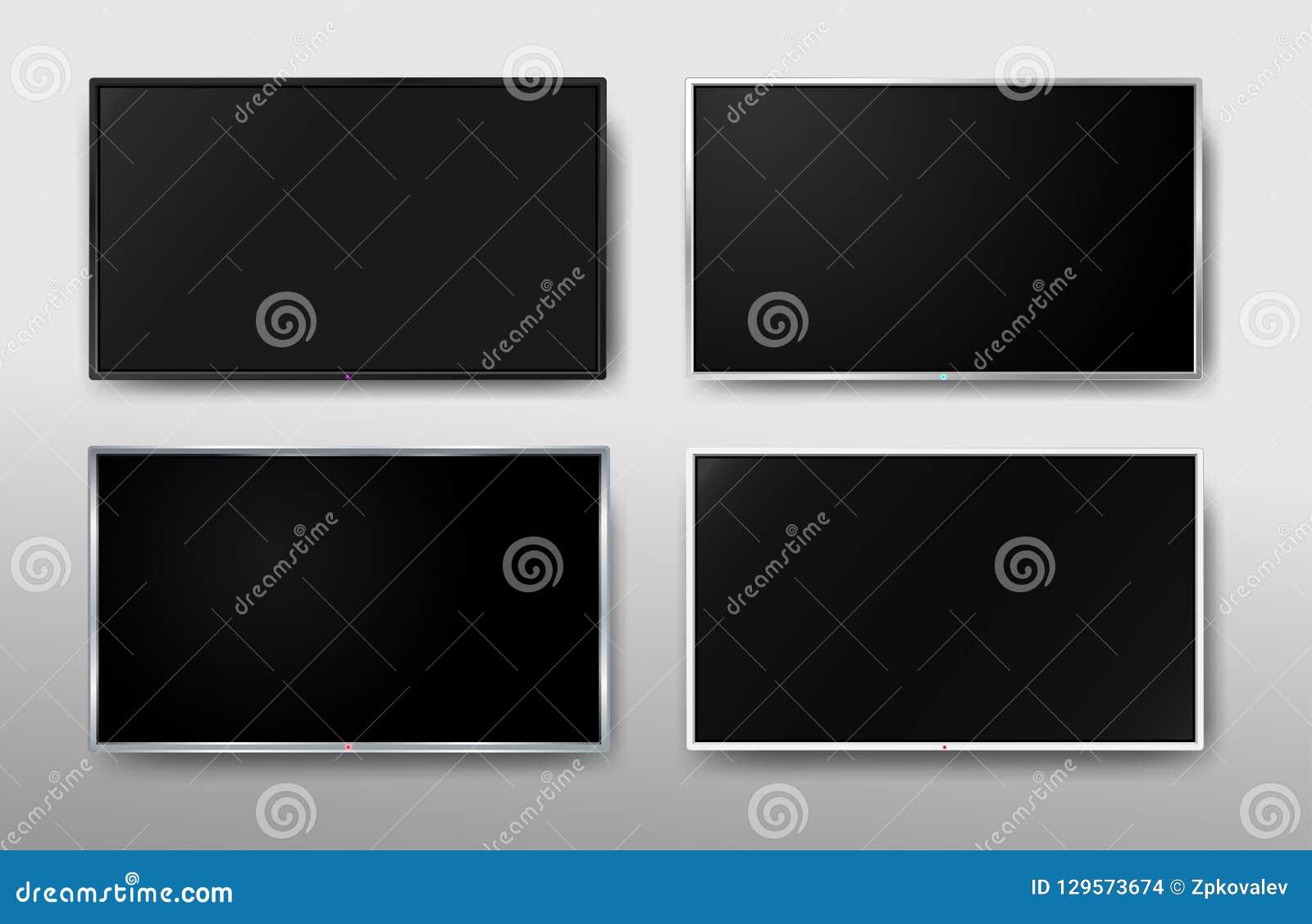 设置现代电视屏幕 显示宽电视 数字现实黑屏幕 4k,LCD或LED电视屏幕 也corel凹道例证向量 查出