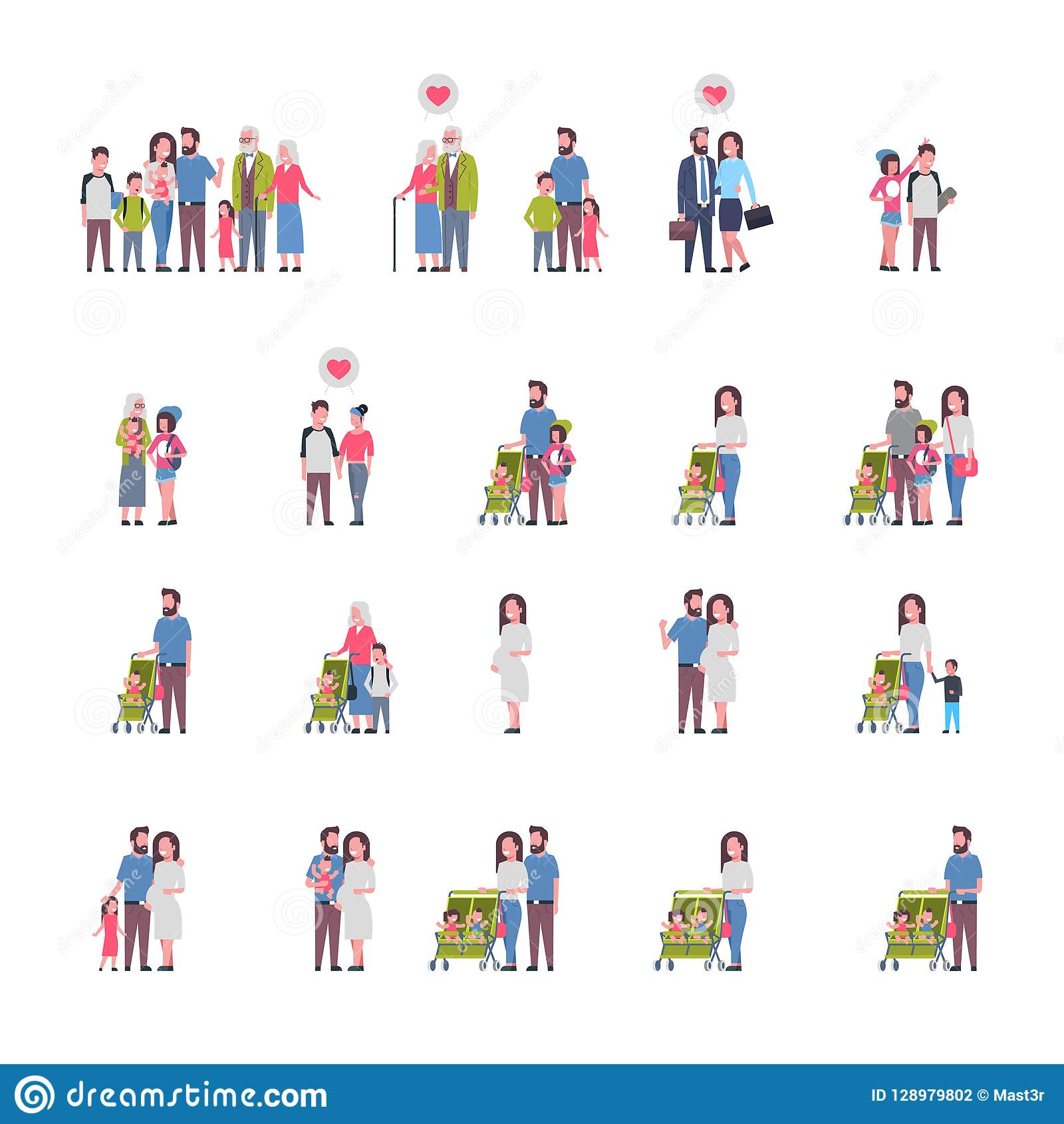 设置祖父母父母孩子,多一代家庭,白色背景的全长具体化,幸福家庭