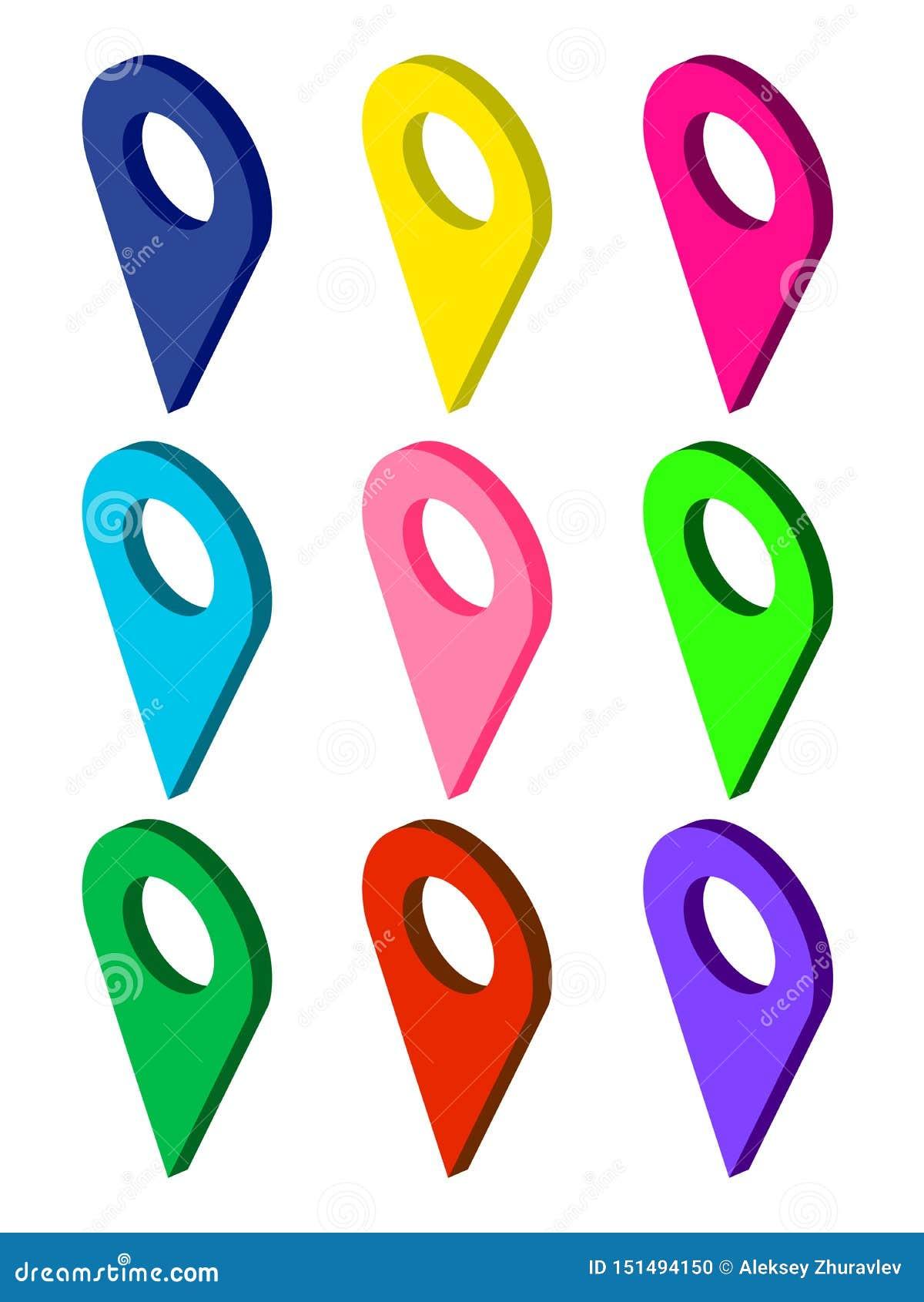 设置等量地图尖 多色地图别针象 地图标志的汇集 r EPS
