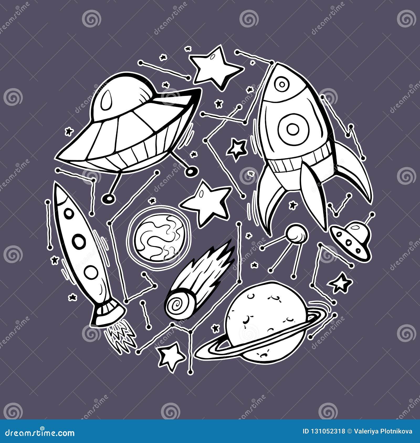 设置等高星、太空飞船和UFOs的儿童例证贴纸  对象是分别于背景