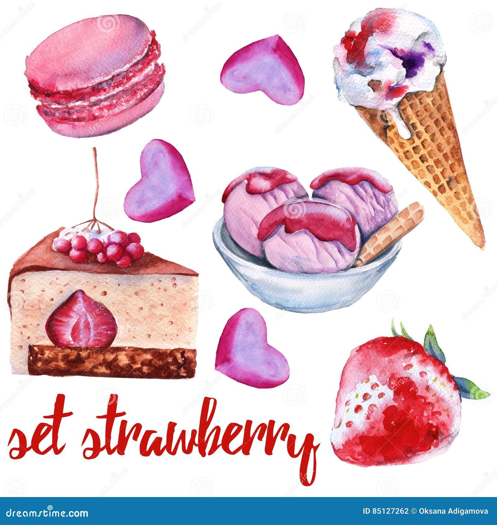 设置草莓甜点 蛋糕、糖果、冰淇凌和蛋白杏仁饼干