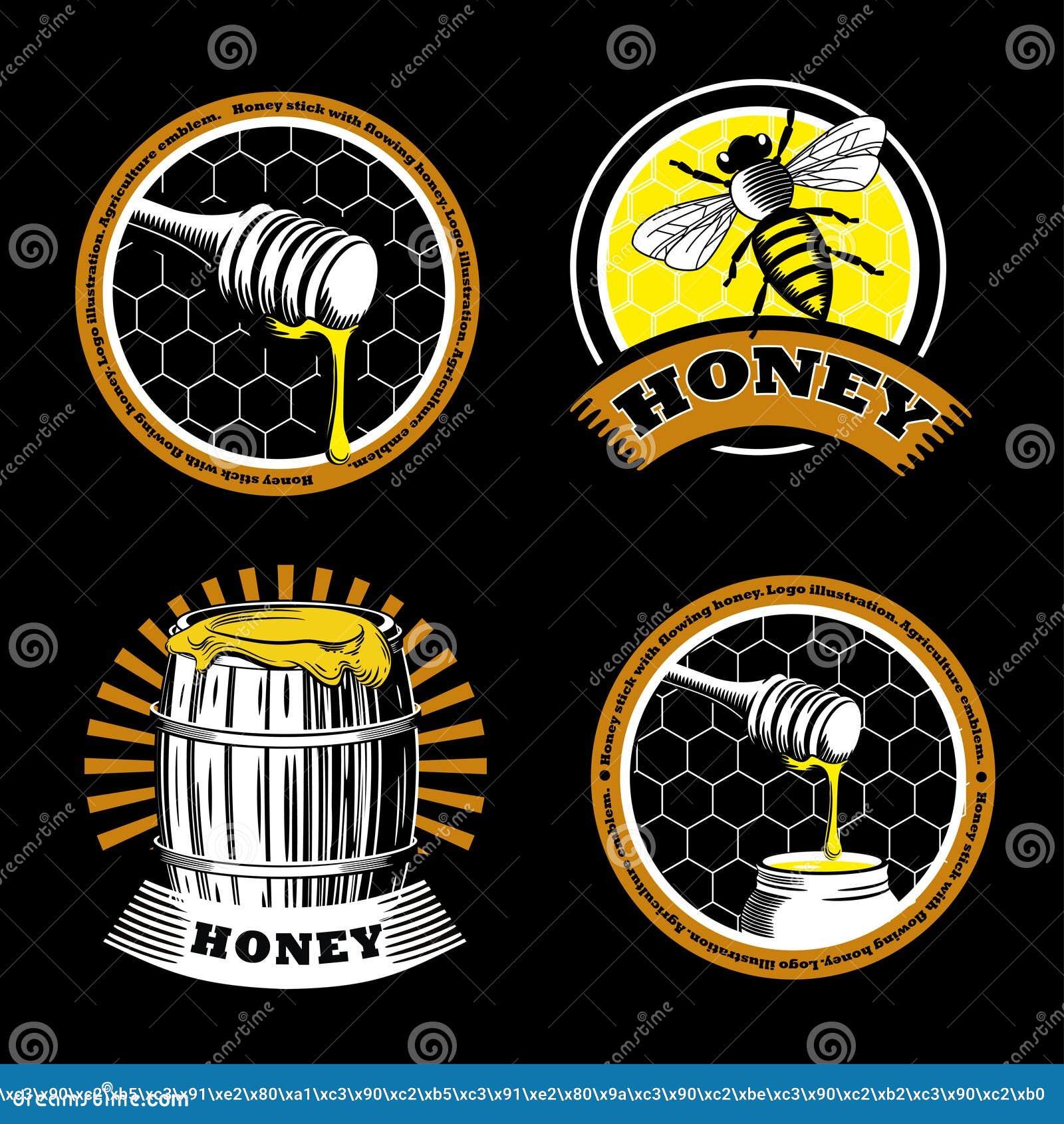 设置葡萄酒蜂蜜象征 商标例证 在黑背景的农业标签