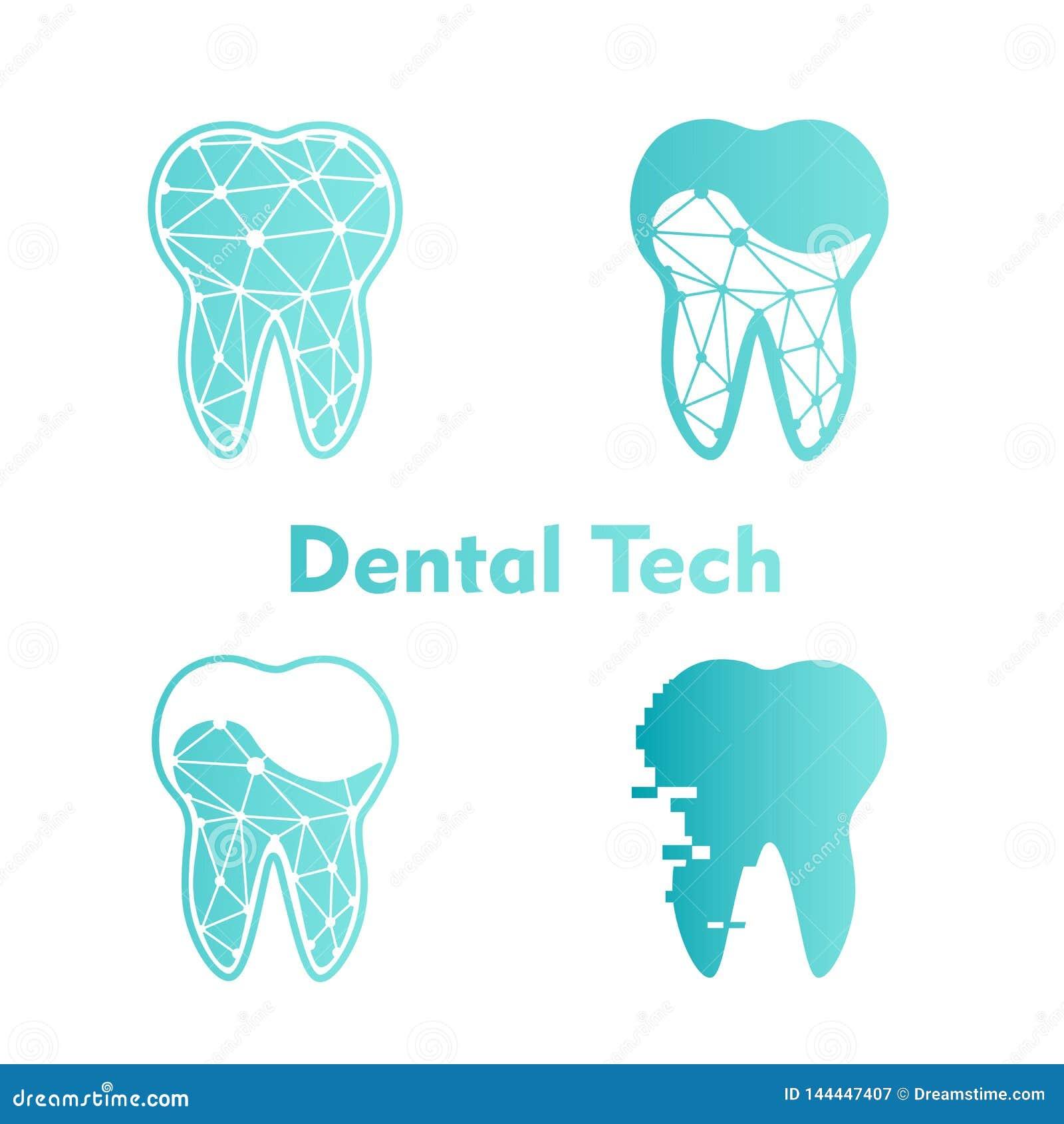 设置蓝色背景的商标牙齿技术 向量