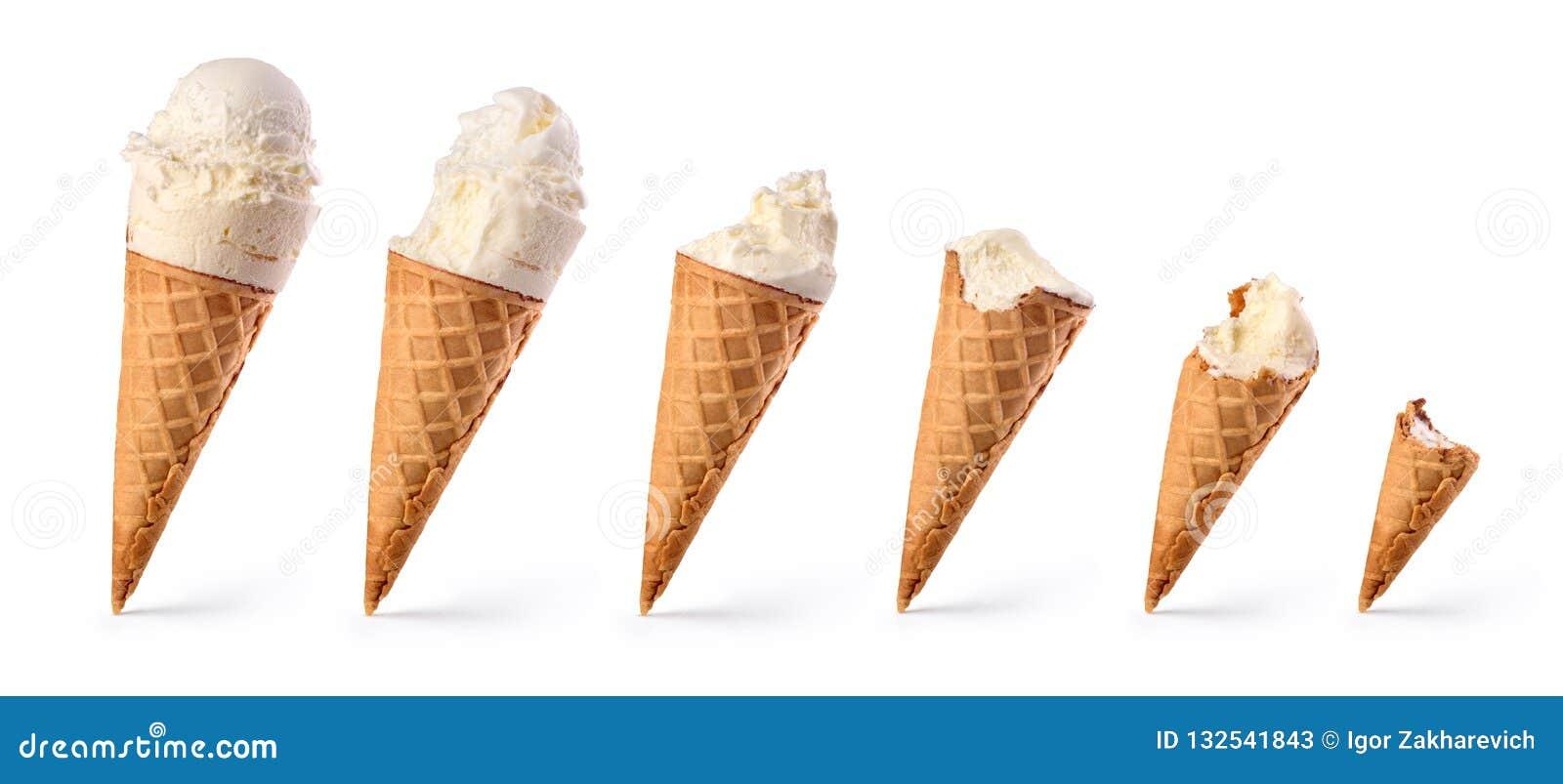 设置被咬住的香草冰淇淋