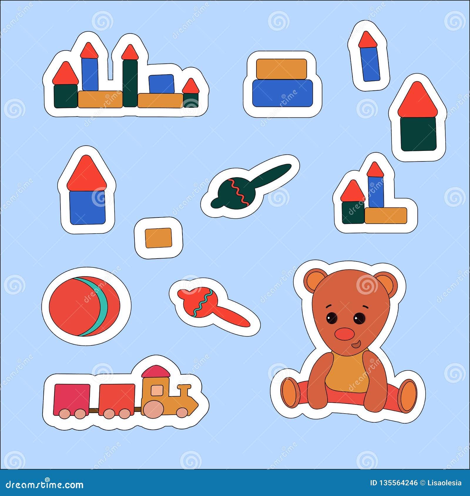 设置贴纸玩具熊和玩具 导航例证,标签,价牌,横幅,小块笔记