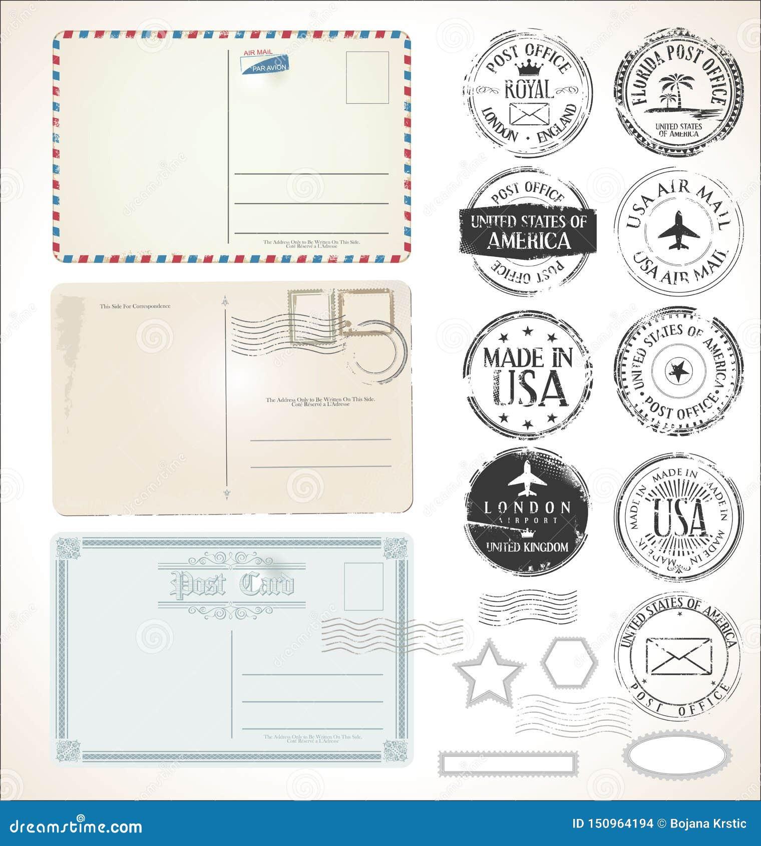 设置邮政邮票和明信片在白色背景邮件邮局航空邮寄