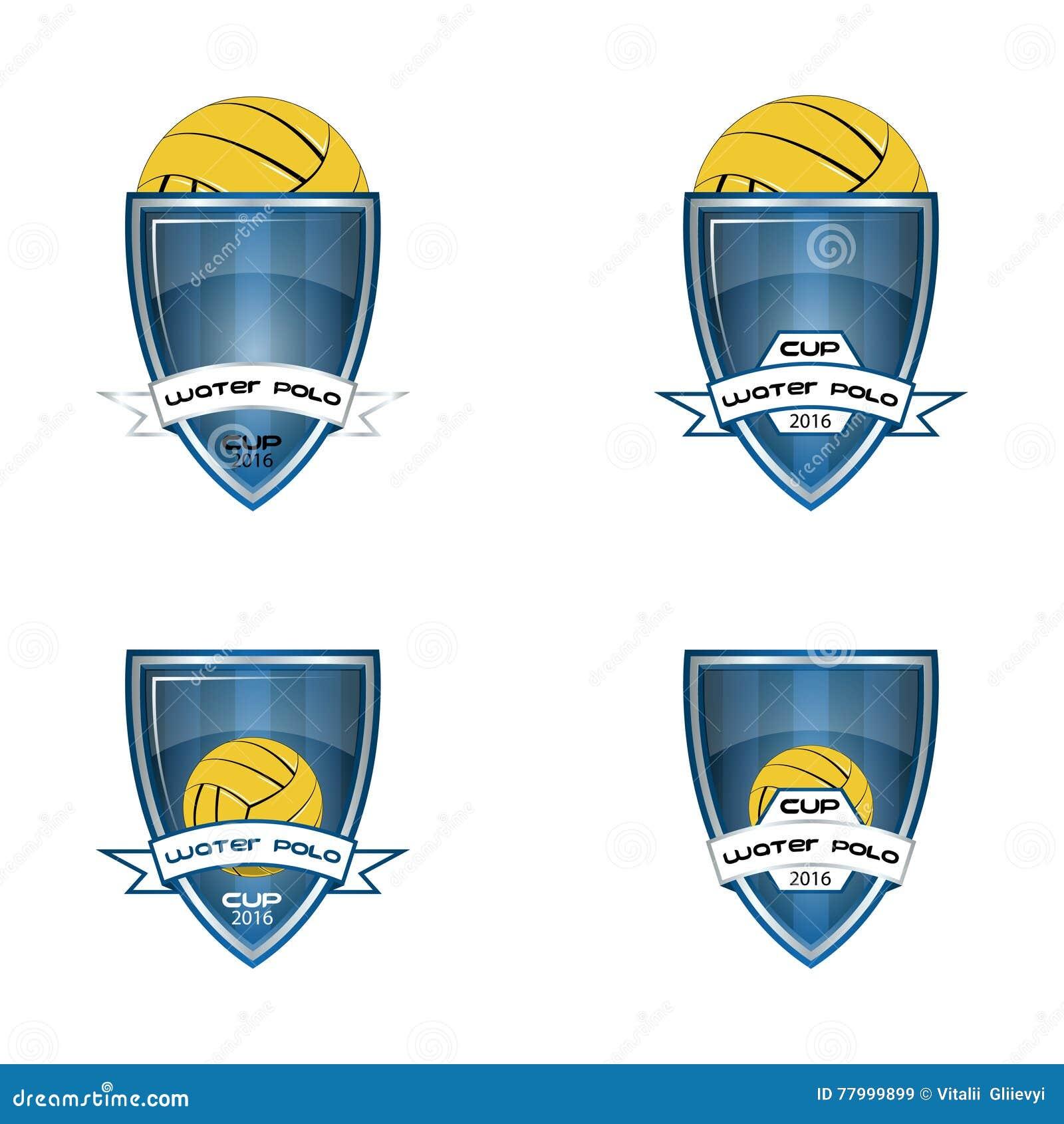 设置队和杯子的水球商标