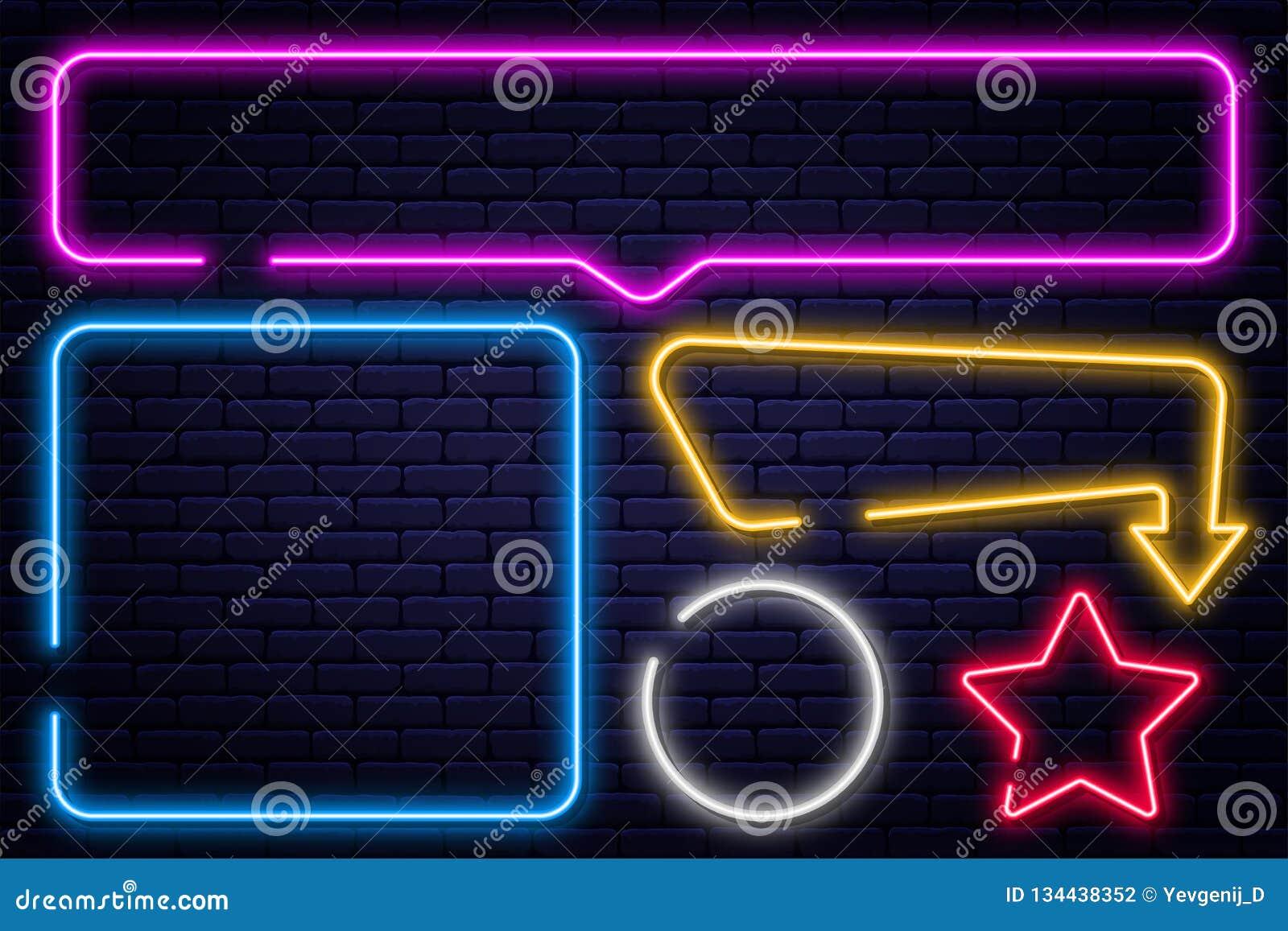 设置霓虹灯广告、箭头、长方形、正方形、圈子和星 霓虹灯框架,发光的电灯泡横幅