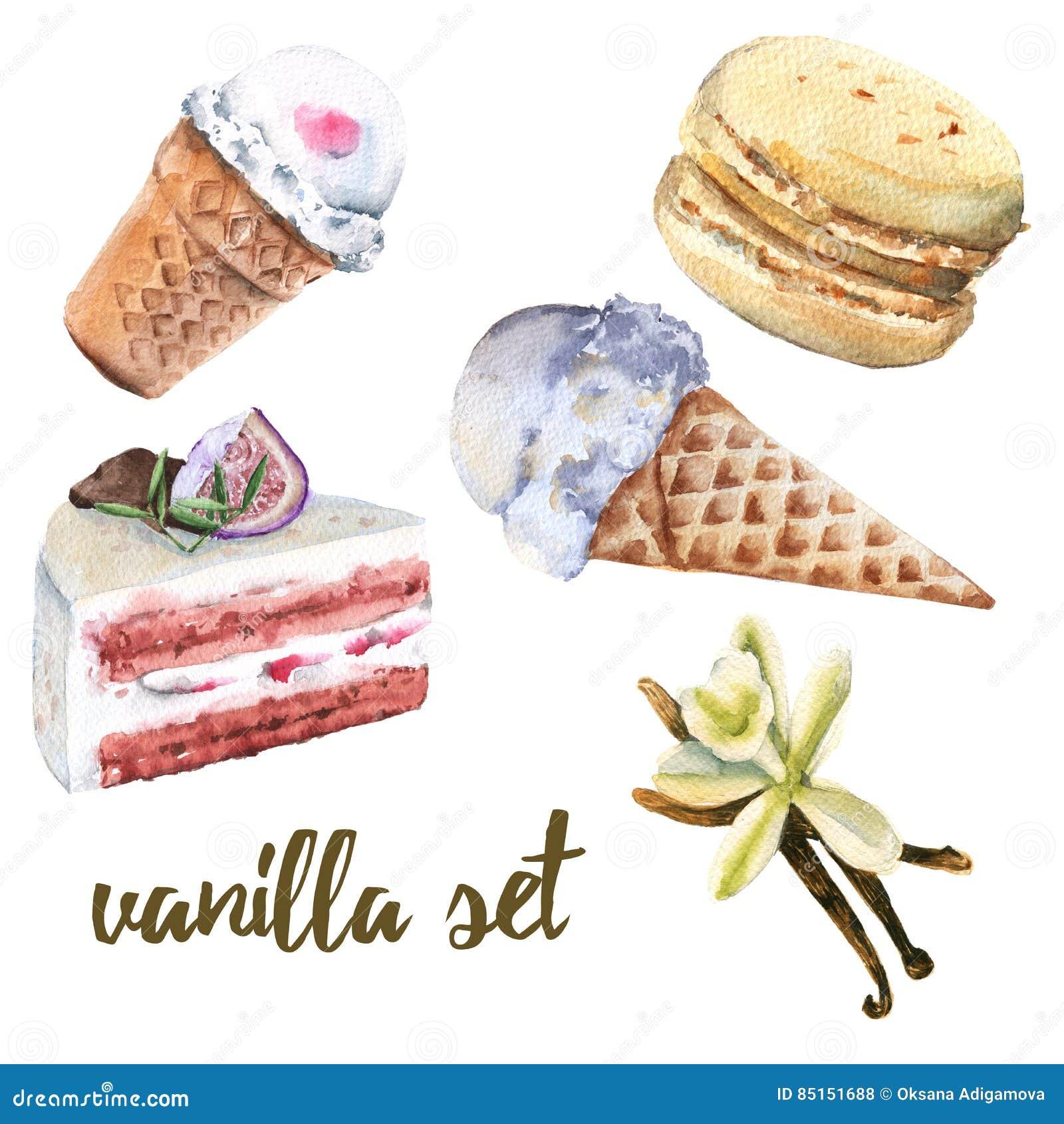 设置香草甜点 蛋糕、糖果、冰淇凌和蛋白杏仁饼干
