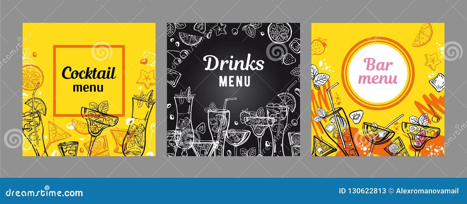 设置鸡尾酒菜单封面设计模板 与黄色和黑板背景的传染媒介概述手拉的例证