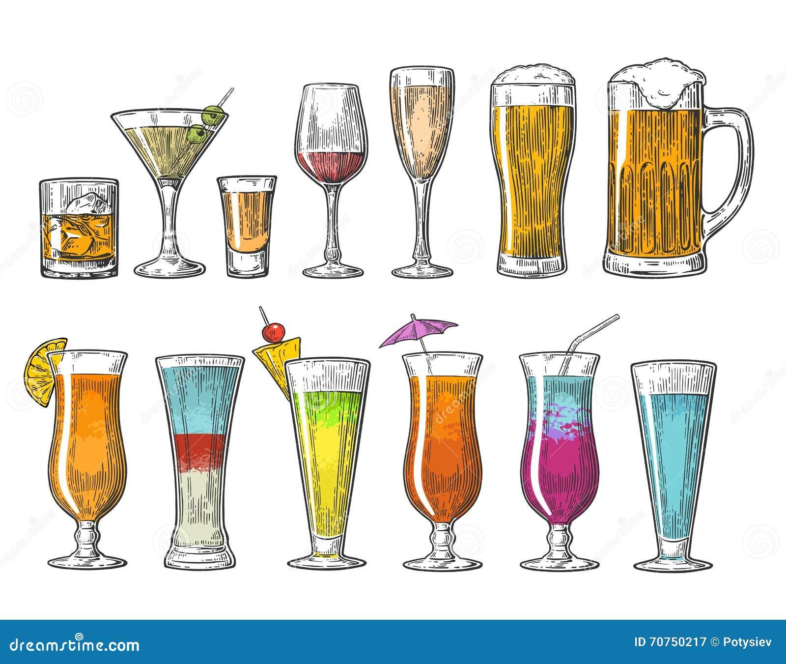 设置玻璃啤酒威士忌酒酒龙舌兰酒科涅克白兰地香槟鸡尾酒 葡萄酒传染媒介网的板刻例证,海报