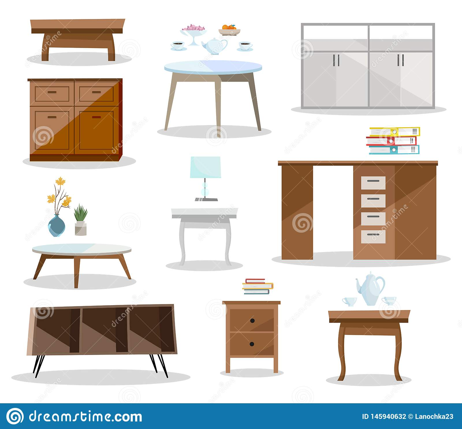 设置differernt桌 舒适的家具nightstand,书桌,办公室桌,在现代设计的咖啡桌