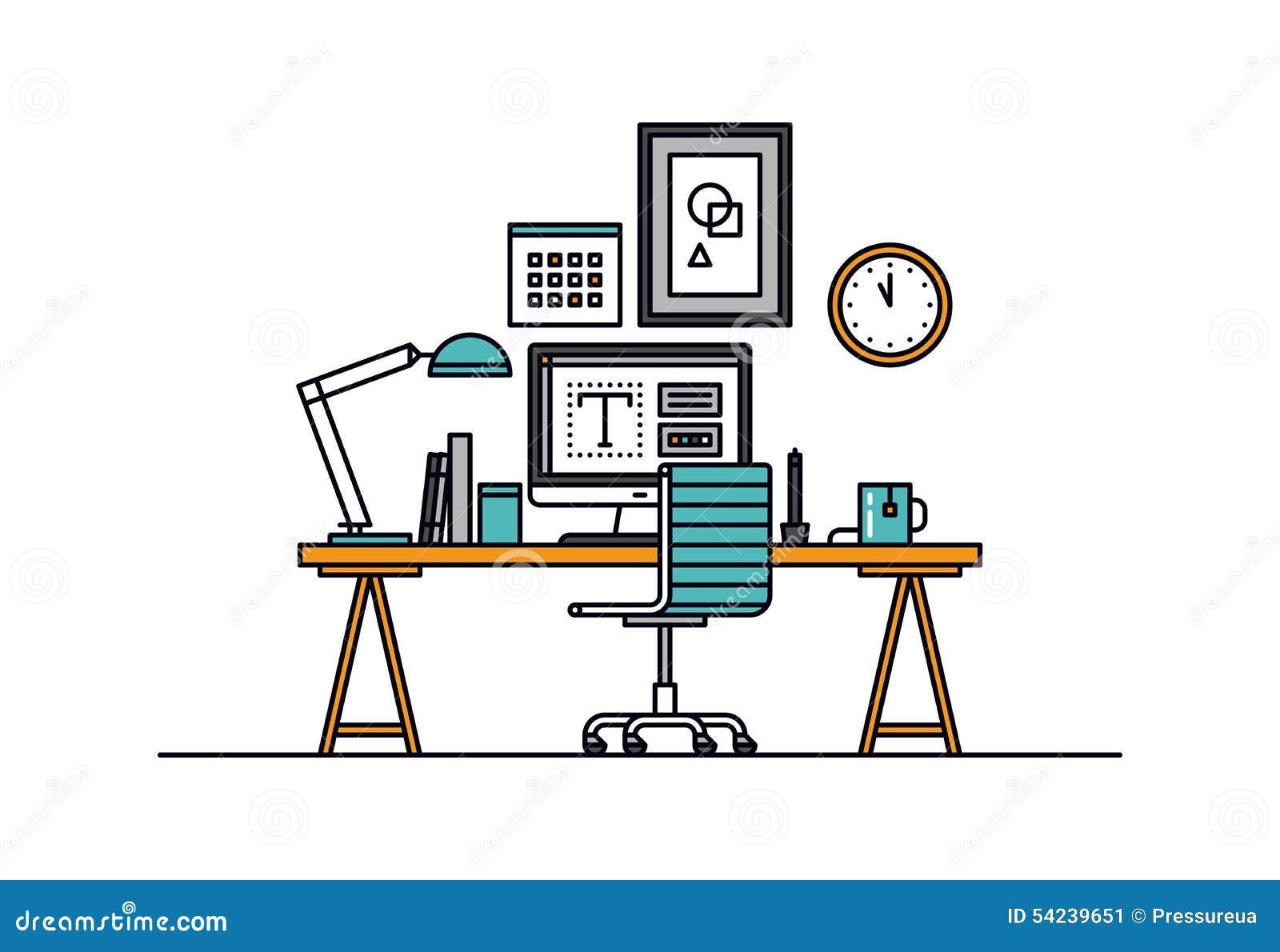 设计师工作区线型例证