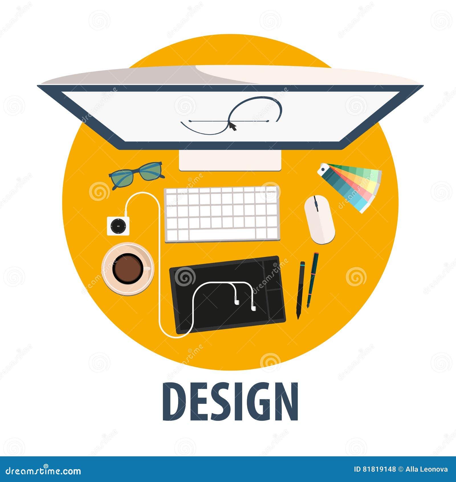 设计平的象 抽象背景设计例证马赛克 自由职业者的行业