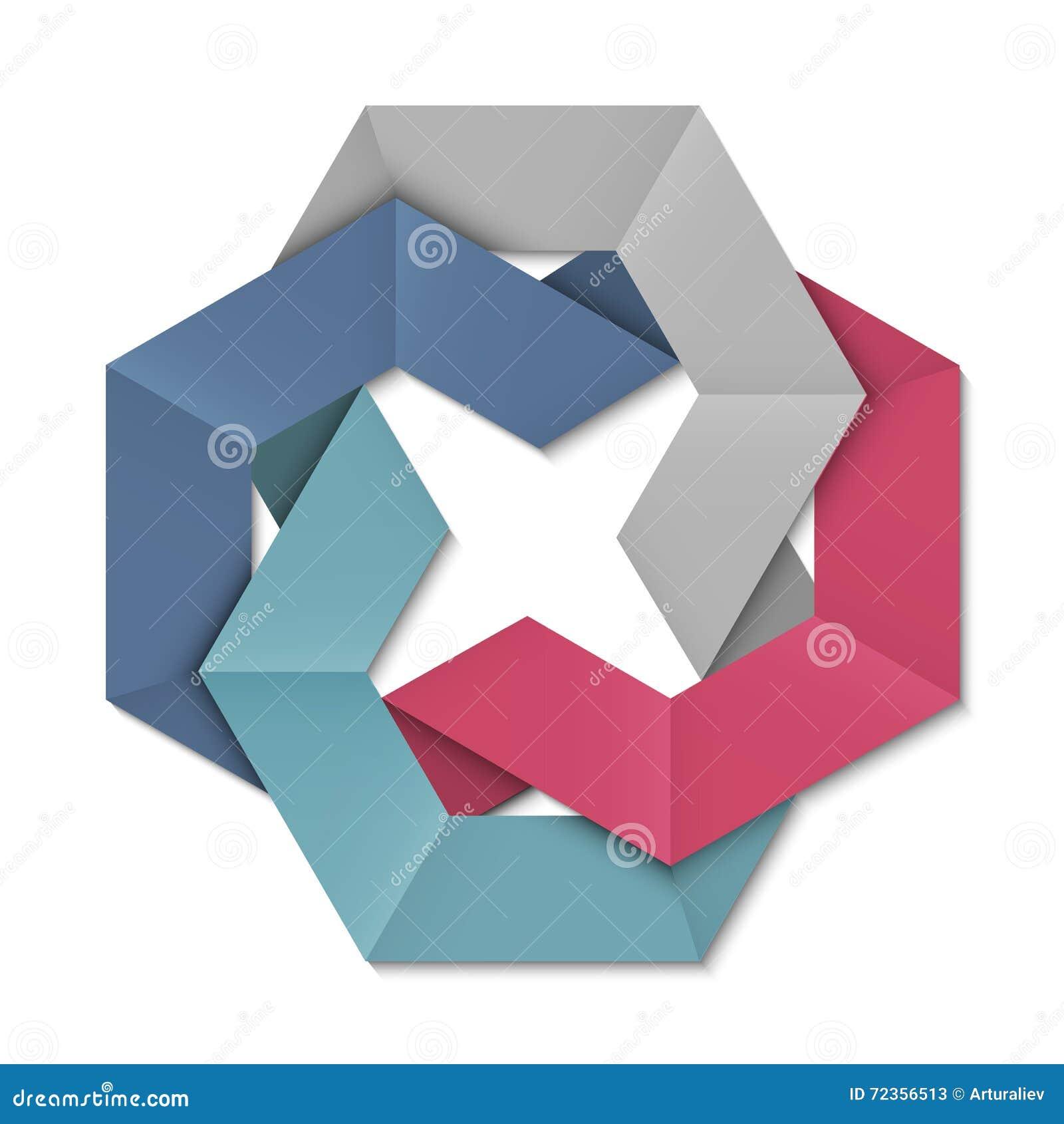 设计的风格化抽象origami元素