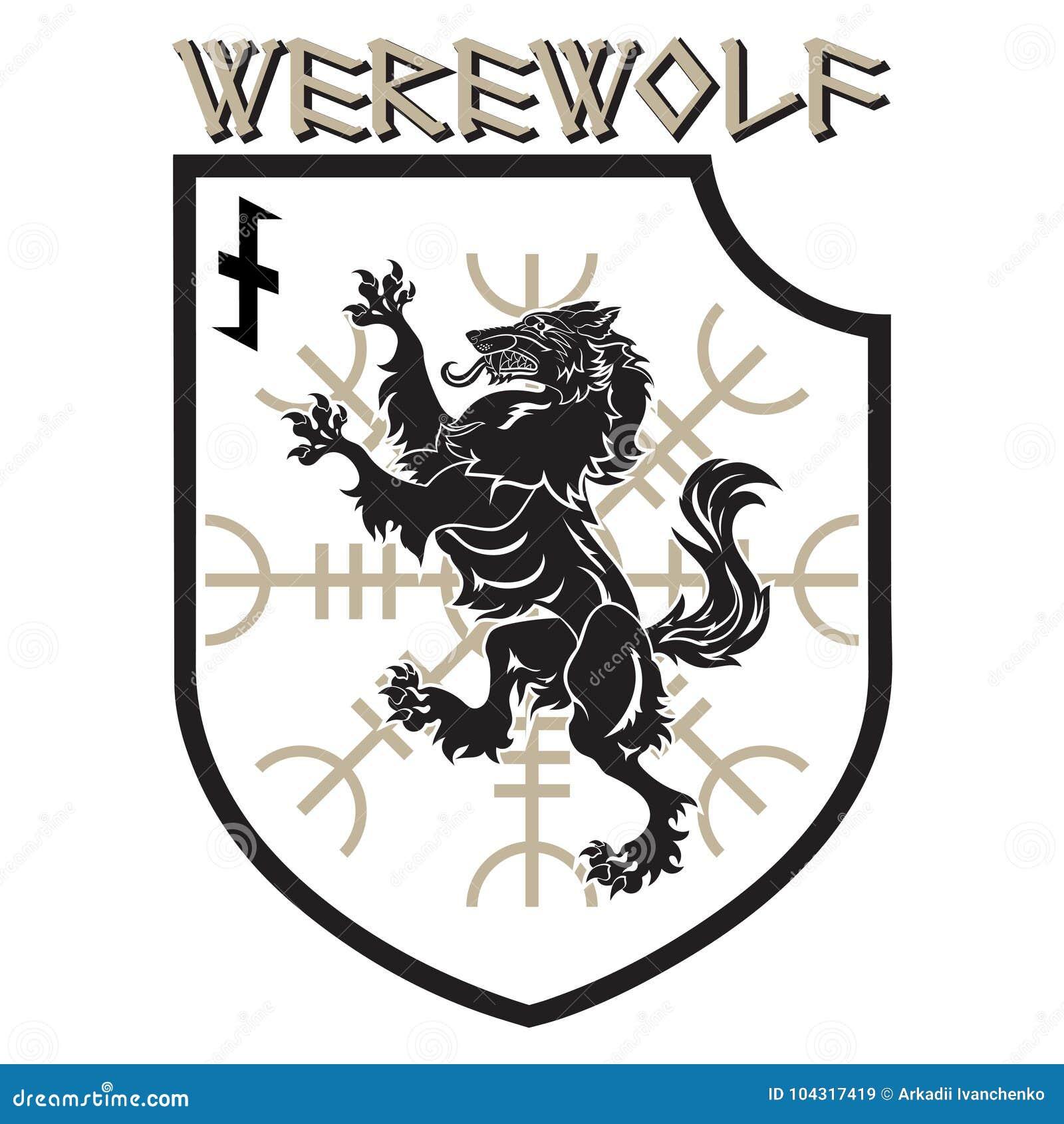 设计补丁 有狼人的纹章学敬畏盾,舵和诗歌Wolfsangel