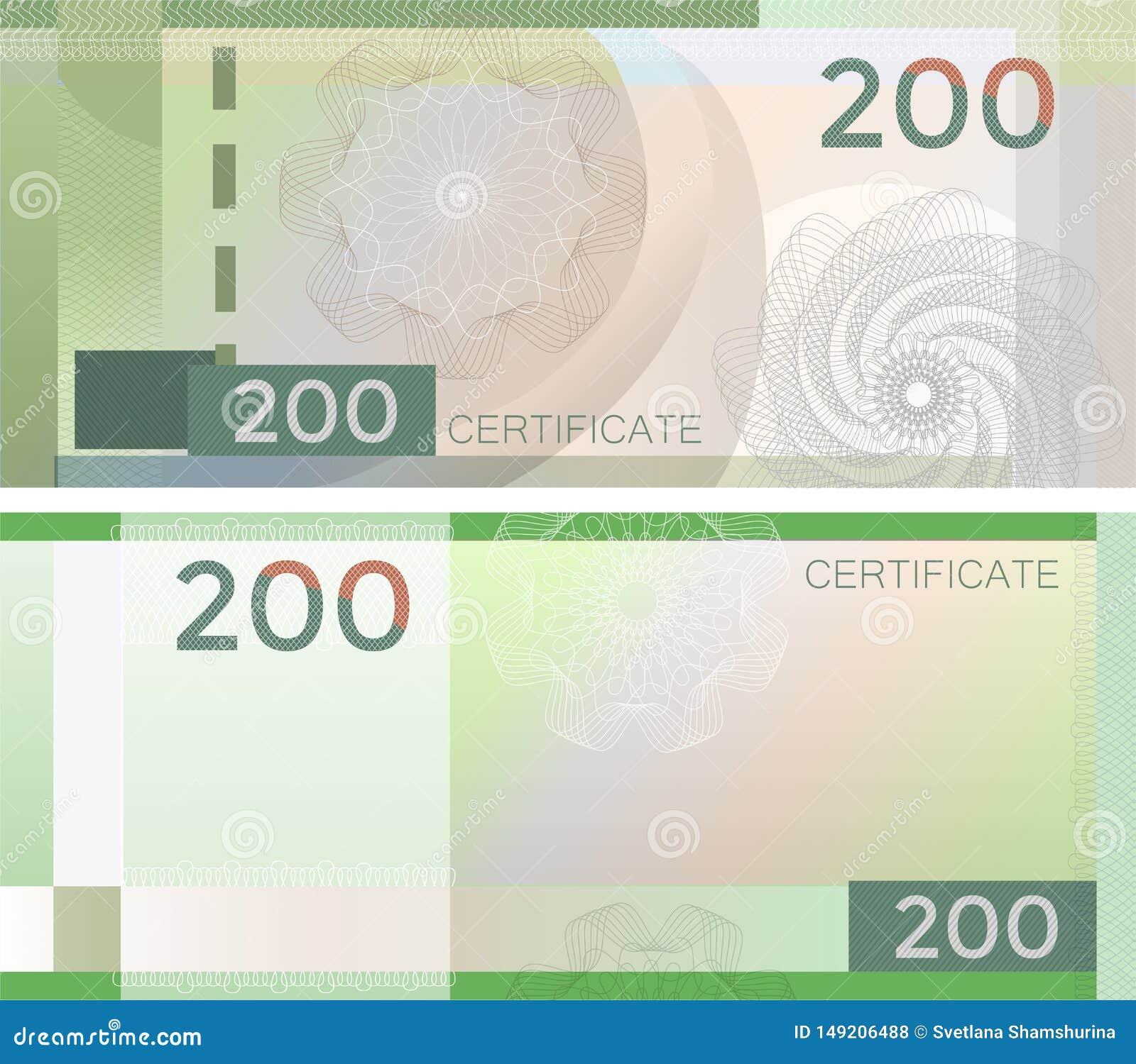证件与扭索状装饰样式水印和边界的模板钞票200 绿色背景钞票,礼券,优惠券,
