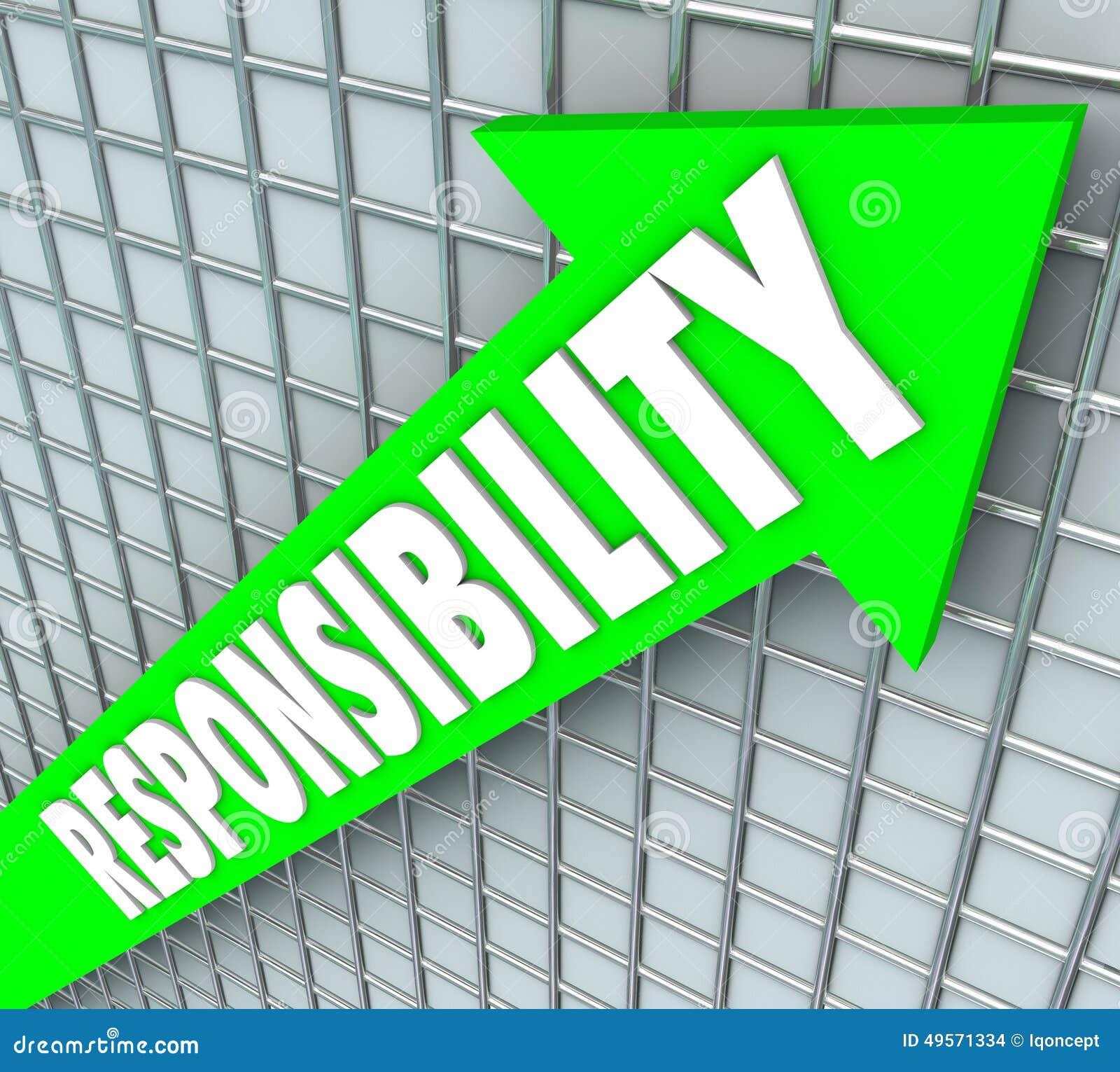 责任词上升绿色的箭头接受义务Acco