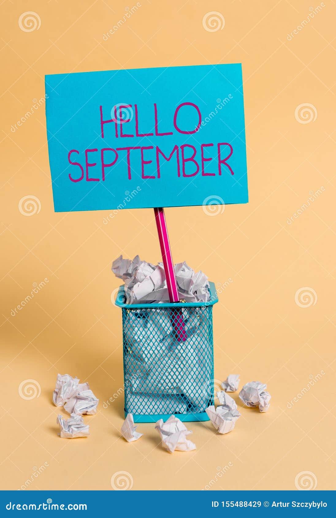 词写发短信给你好9月 热切想要的热烈欢迎企业概念到9月