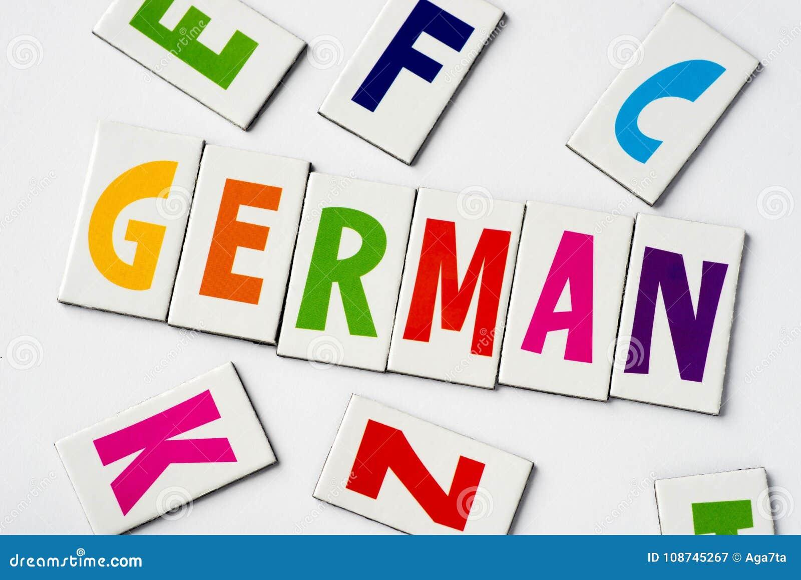 词德语由五颜六色的信件做成
