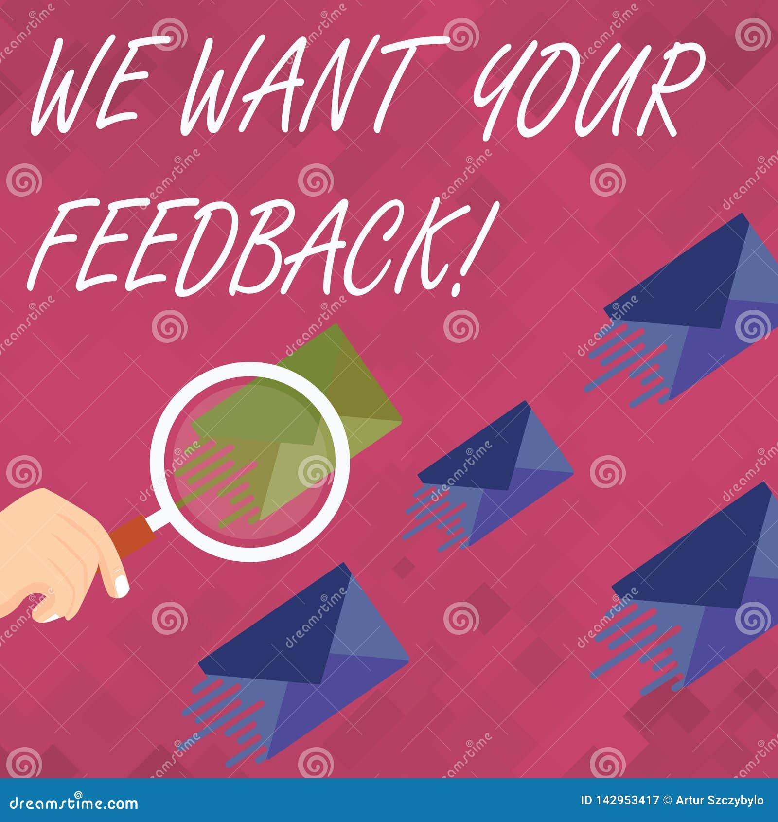 词文字文本我们想要您的反馈 指定的批评的企业概念某人说可以为改善做