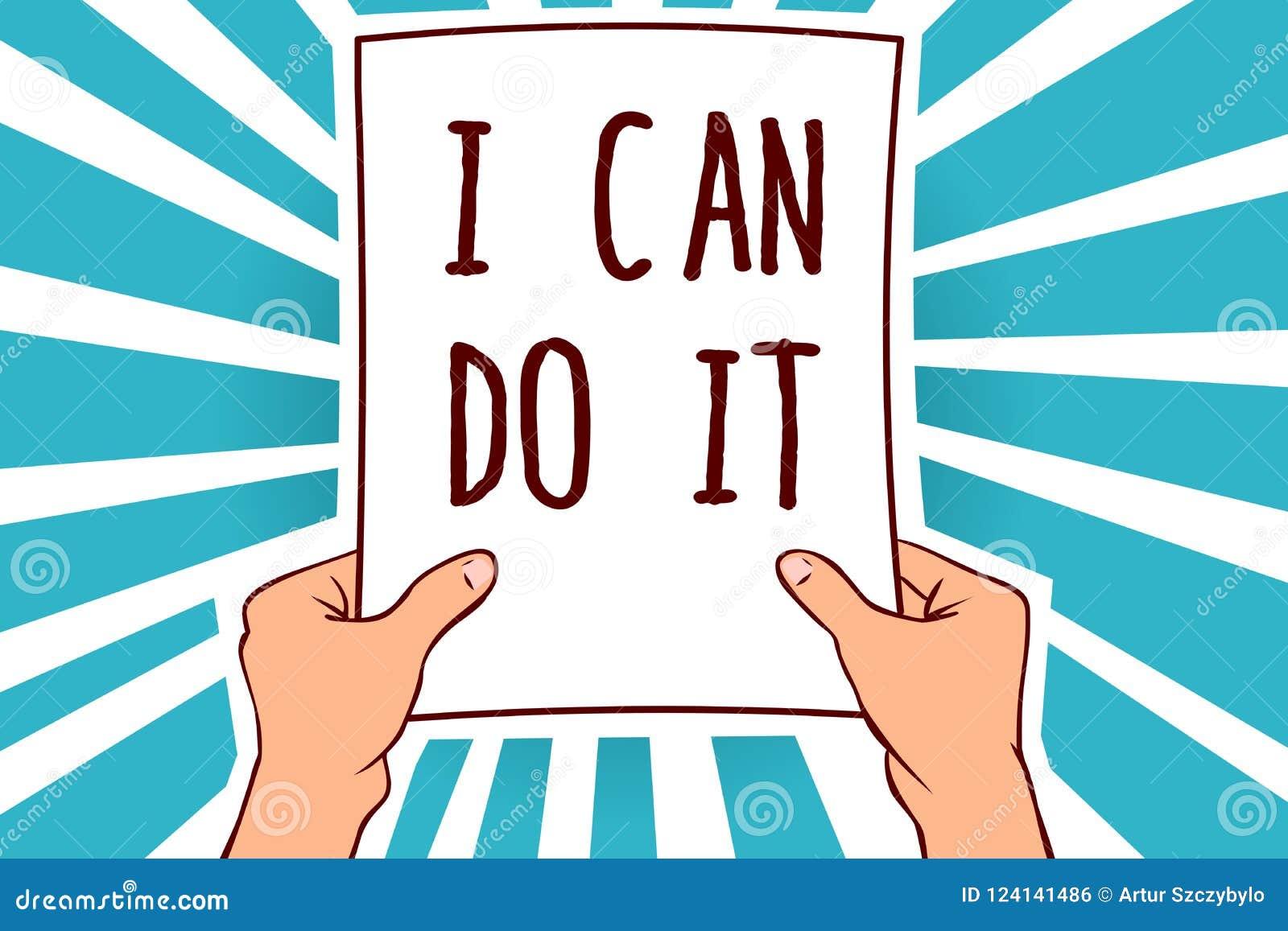 词文字文本我可以做它 老化自愿的企业概念能接受和遇见拿着纸的挑战好态度人