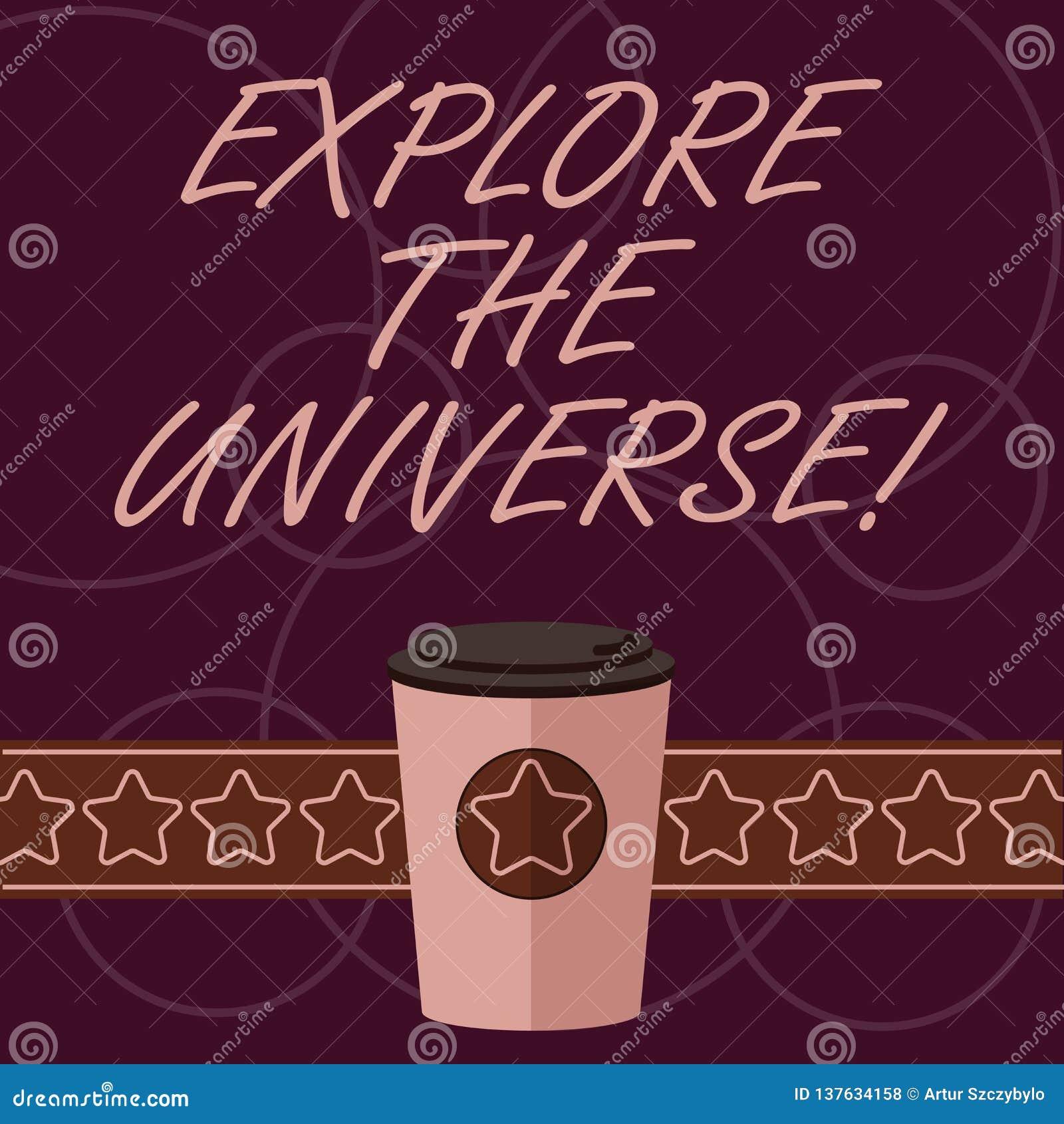 词文字文本探索宇宙 Discover的企业概念空间和时间和他们的内容3D咖啡