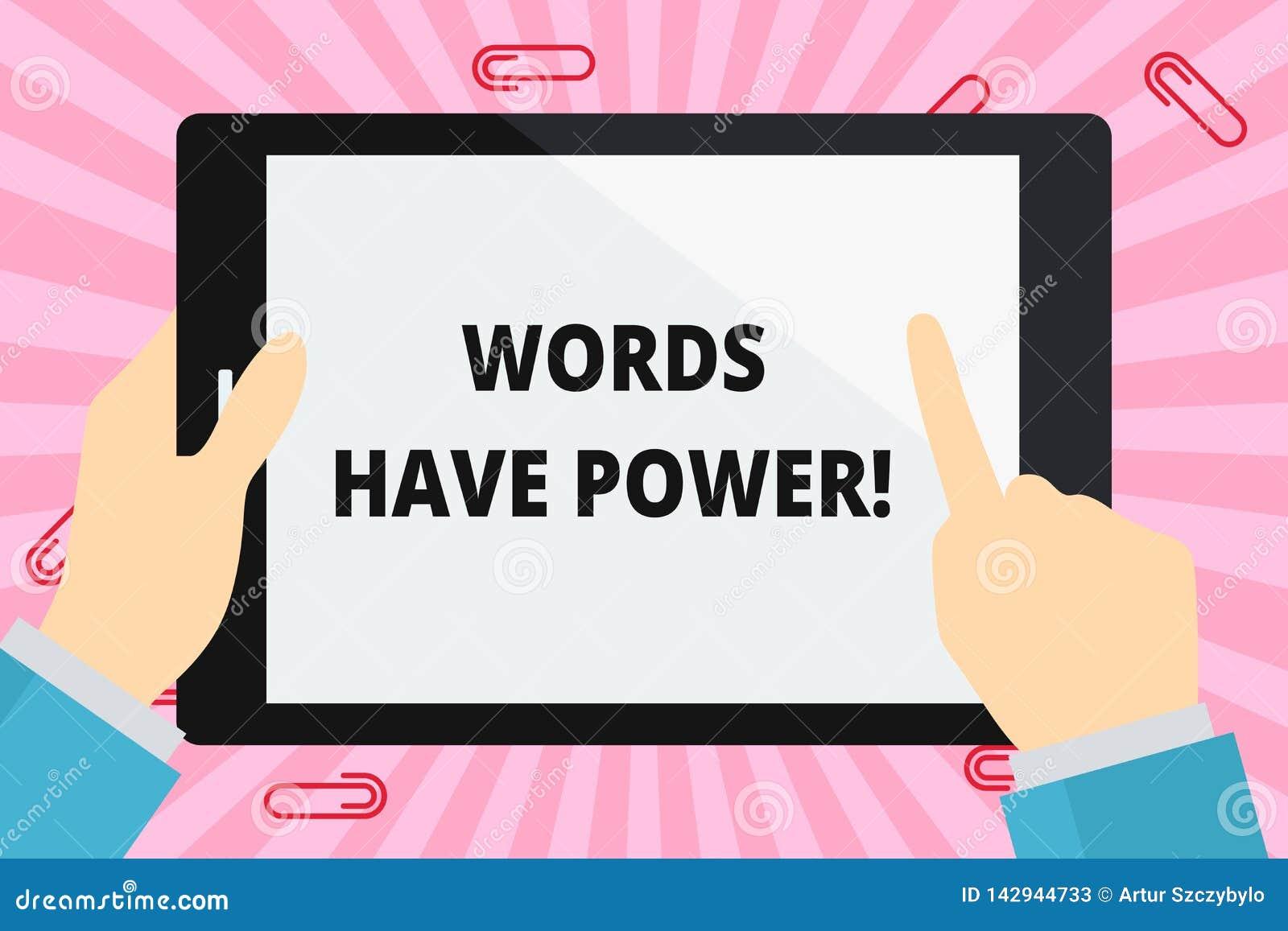 词文字文本词有力量 企业概念为,因为他们有能力帮助愈合创伤或危害某人手