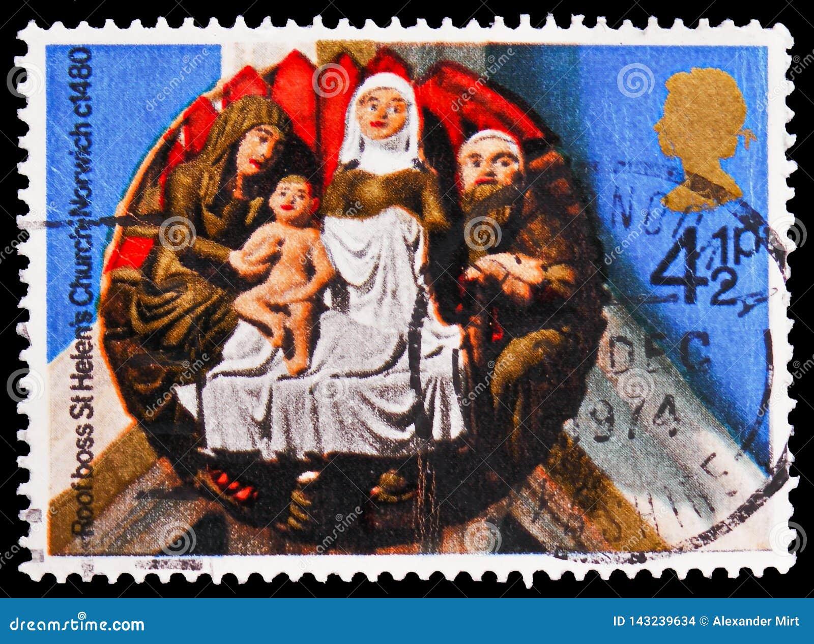 `诞生`圣海伦` s教会,诺威治, 1480,圣诞节1974年-教会屋顶控制serie,大约1974年