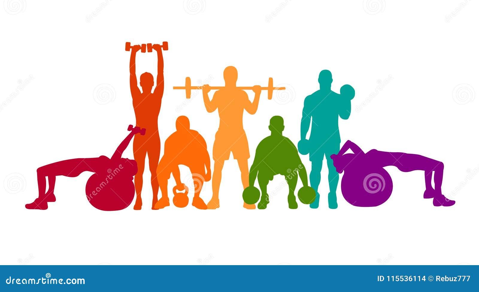 详细的传染媒介例证剪影坚强的辗压人民集合女孩和人炫耀健身健身房体型锻炼powerlifti