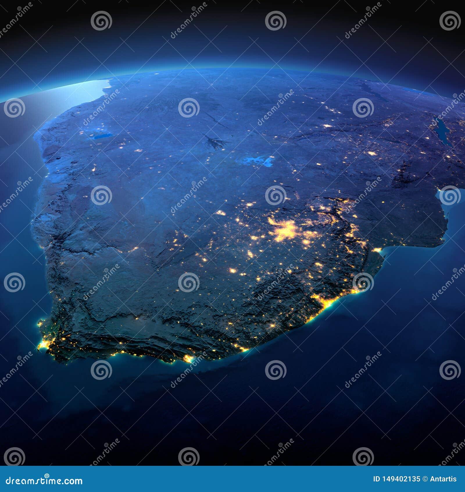 详细的地球 南非在被月光照亮夜