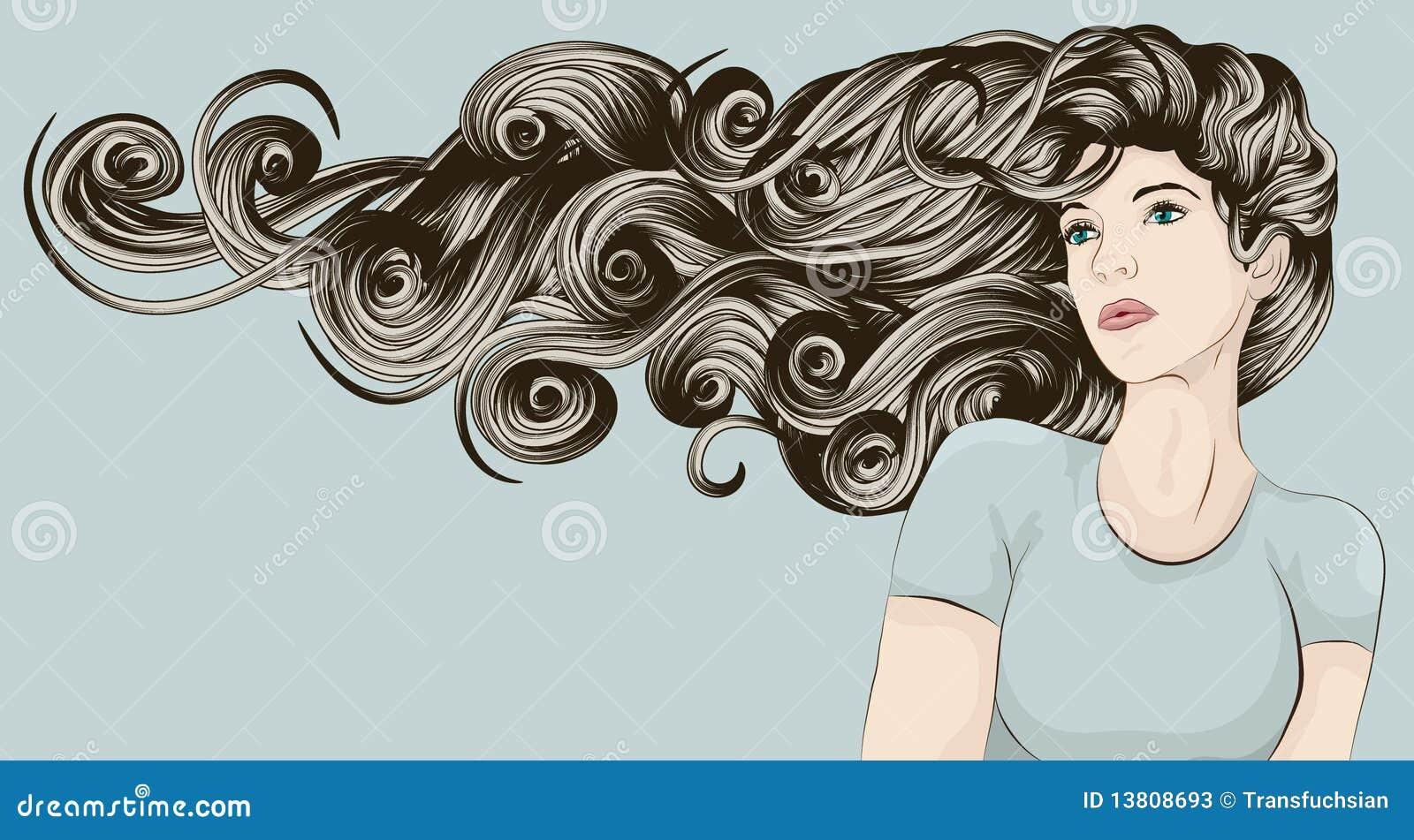 详细表面头发长的非常s妇女图片
