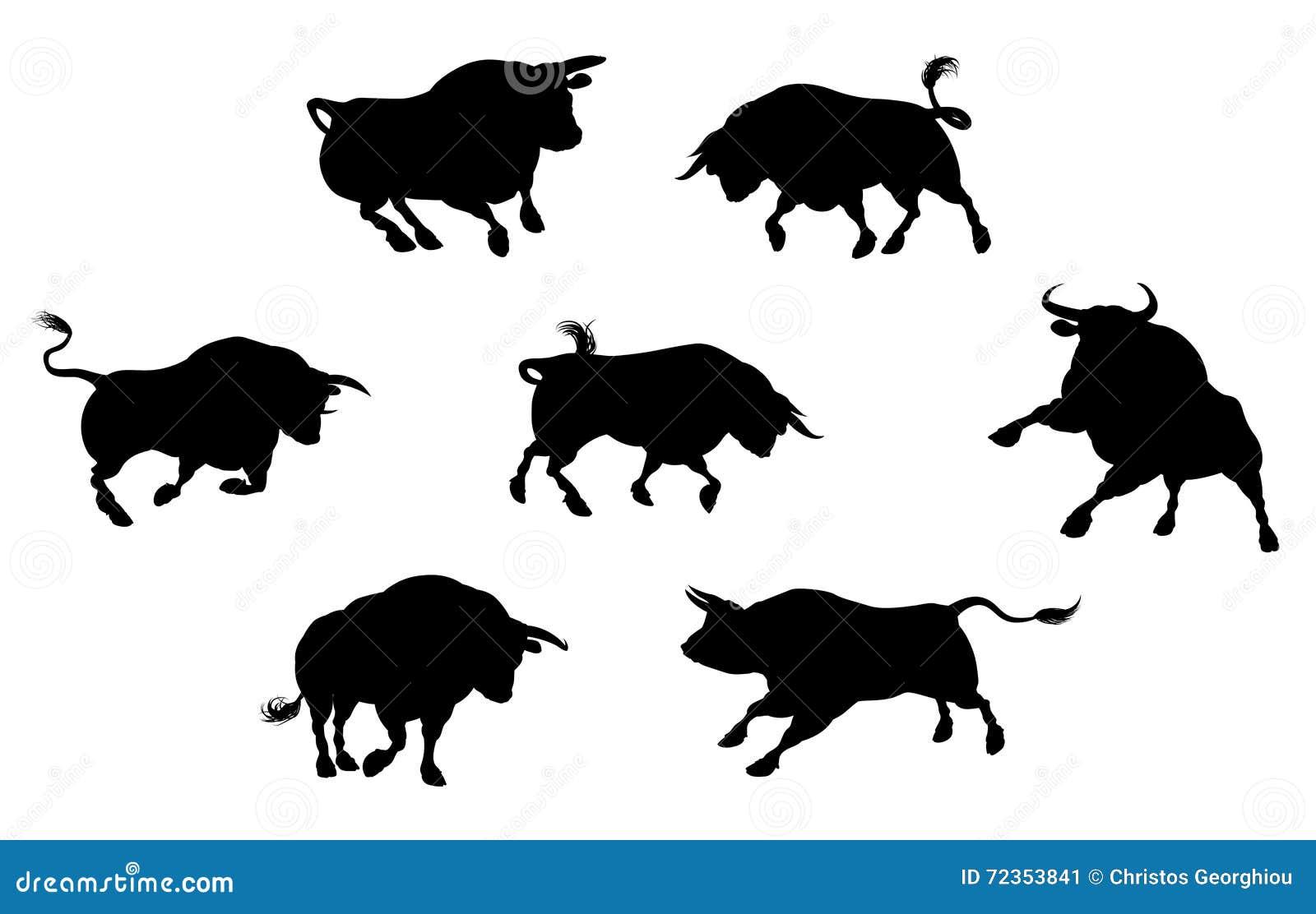 详细的公牛剪影