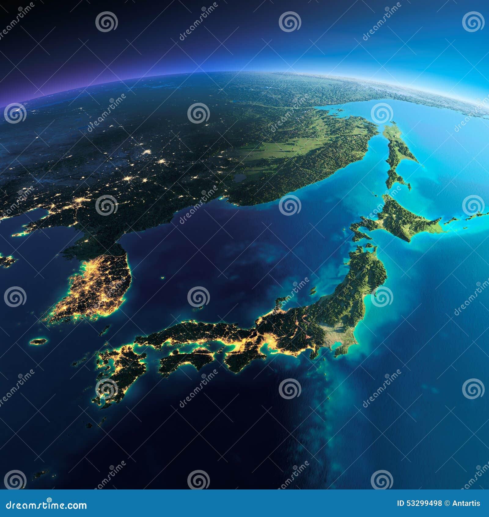 详细的地球 日本和韩国