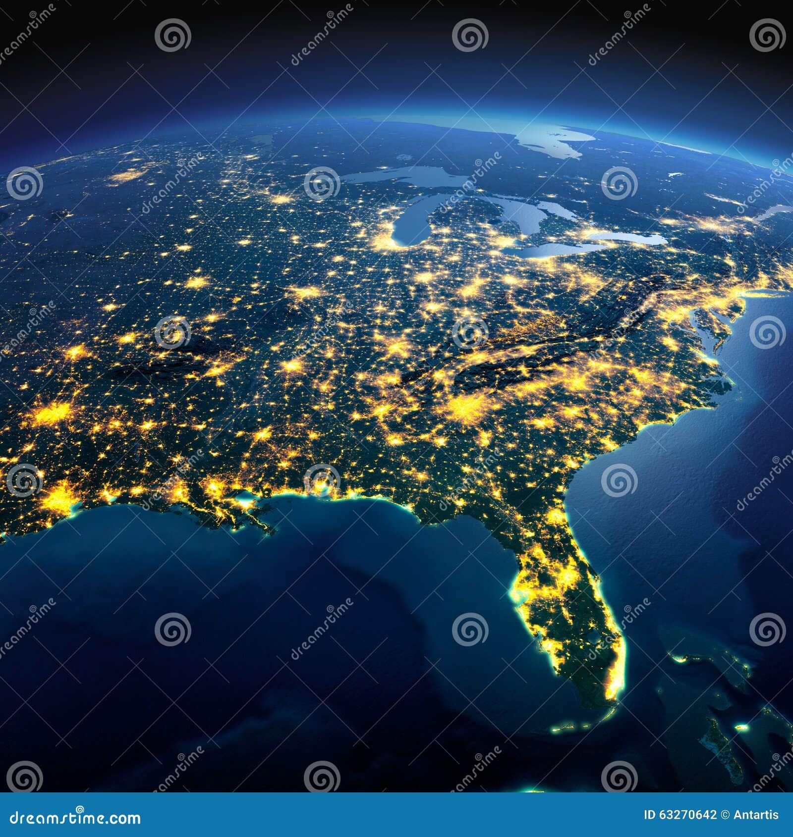 详细的地球 美国成象映射美国航空航天局北部 美国 墨西哥湾和佛罗里达o