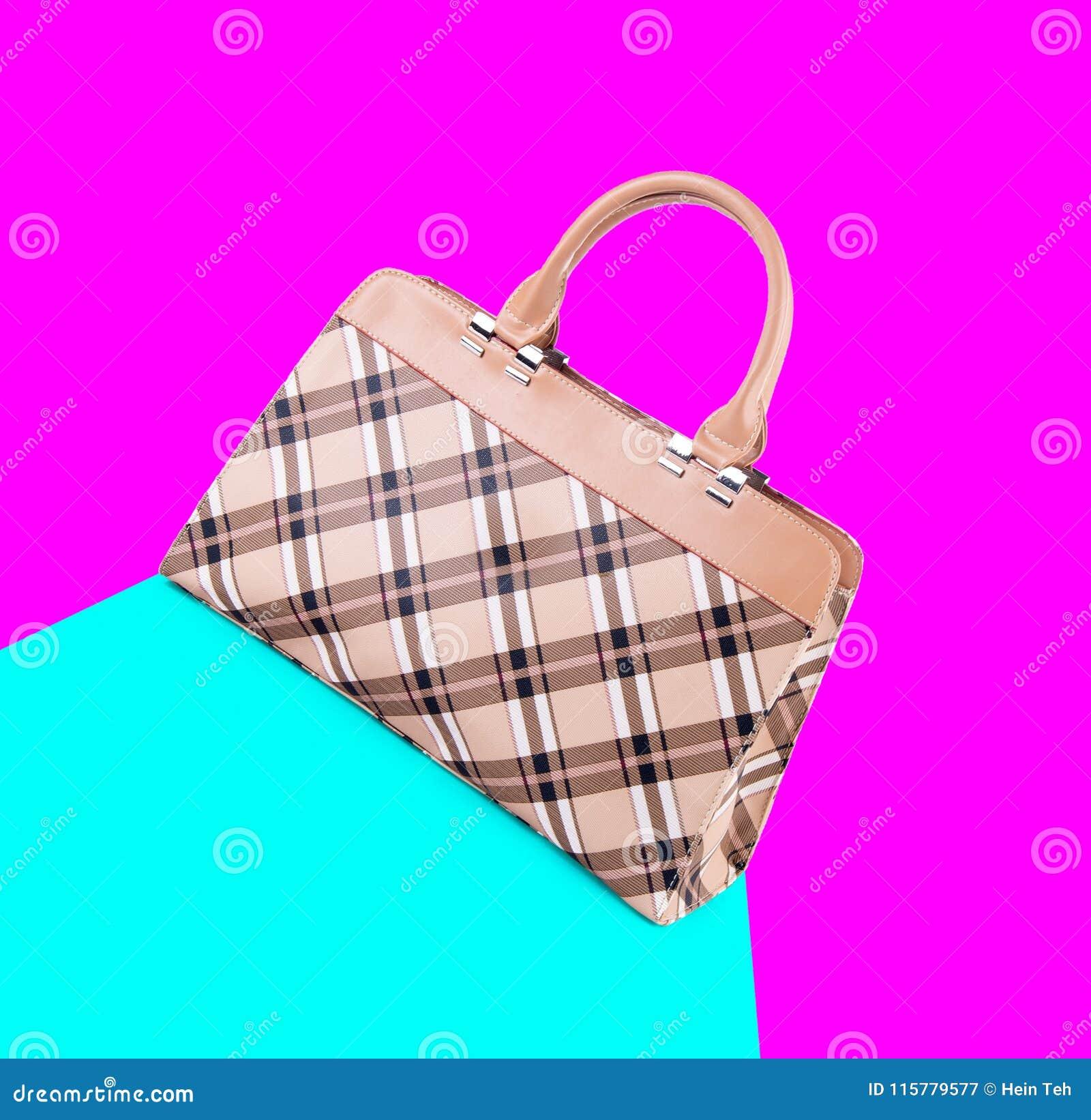 诱饵 在背景的妇女袋子