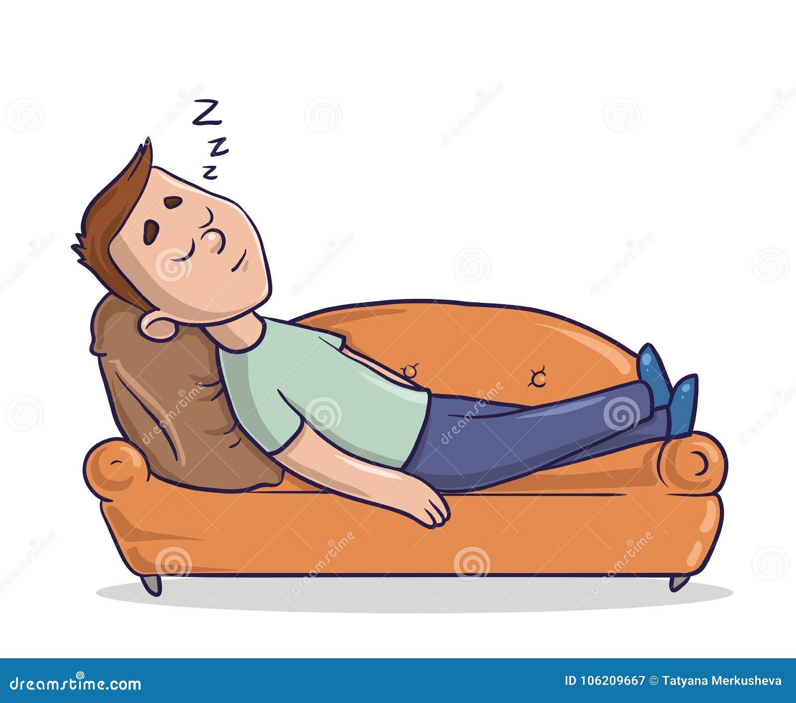 说谎在一个含沙色长沙发的年轻人采取休息 睡觉在沙发的人 漫画人物传染媒介例证