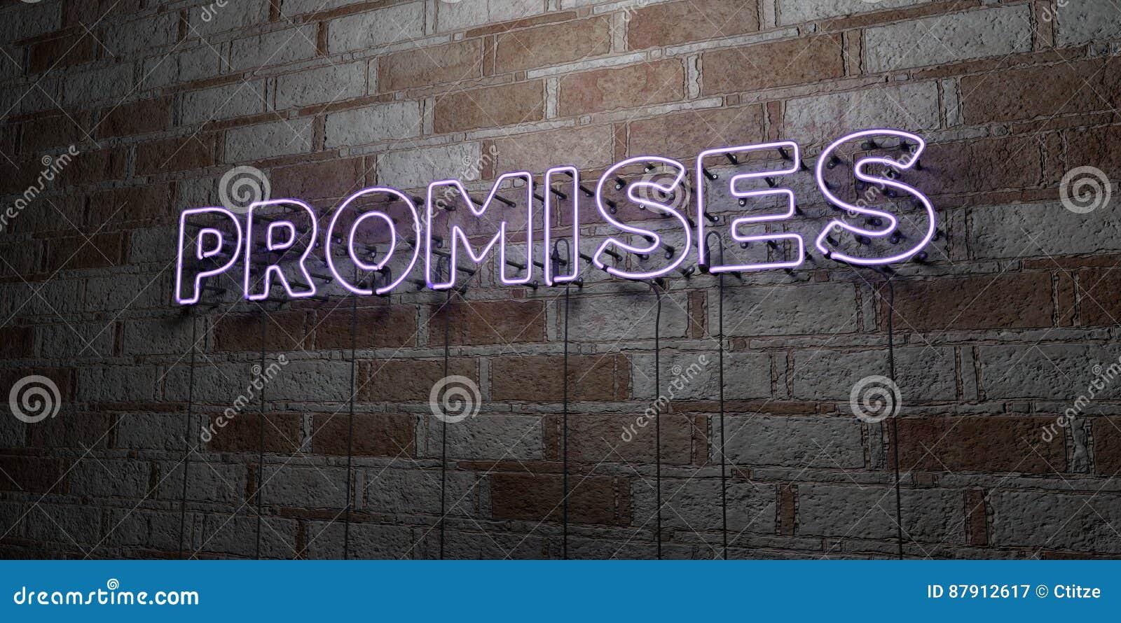 诺言-在石制品墙壁上的发光的霓虹灯广告- 3D回报了皇族自由储蓄例证