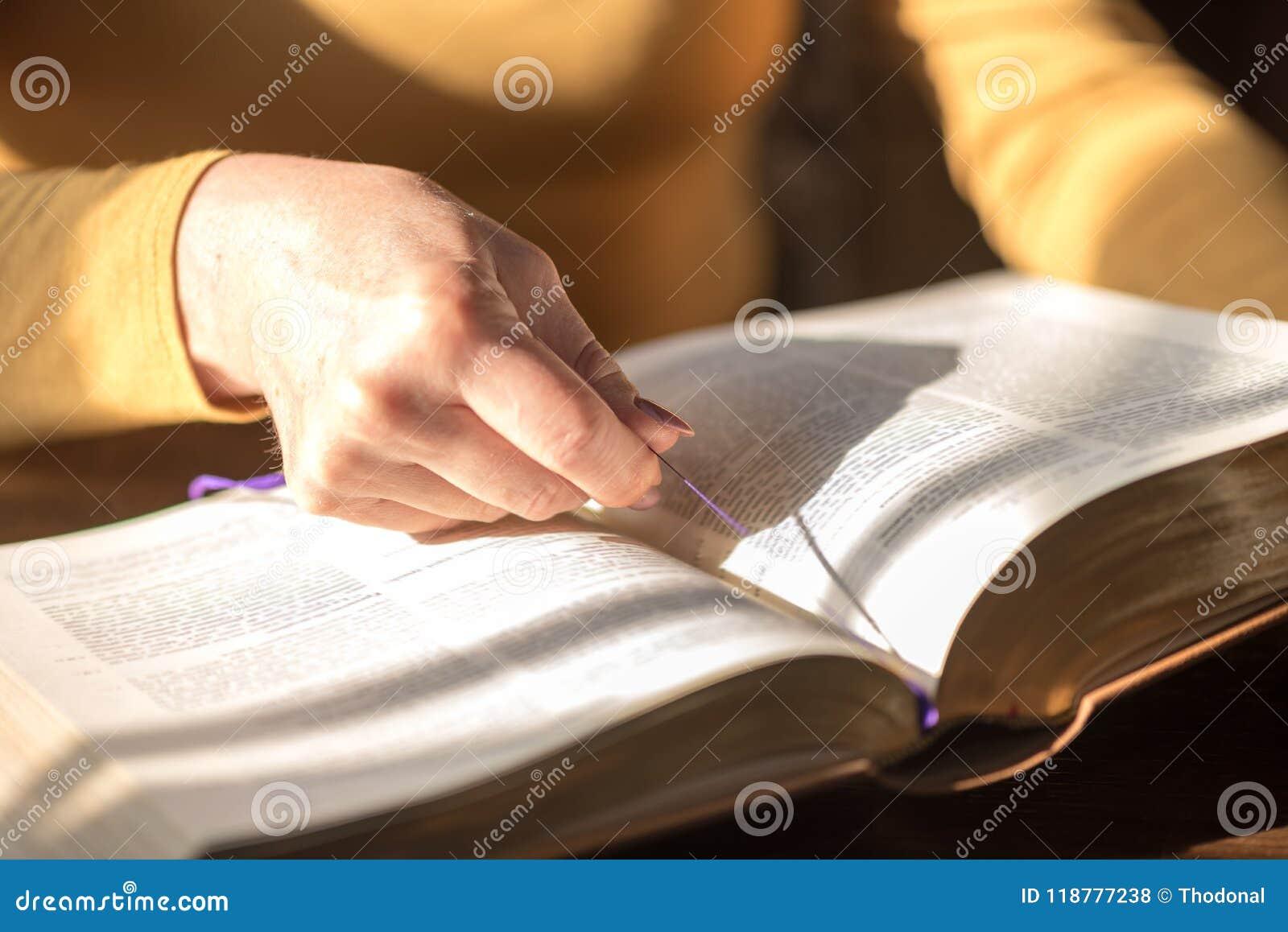 读圣经,坚硬光的妇女
