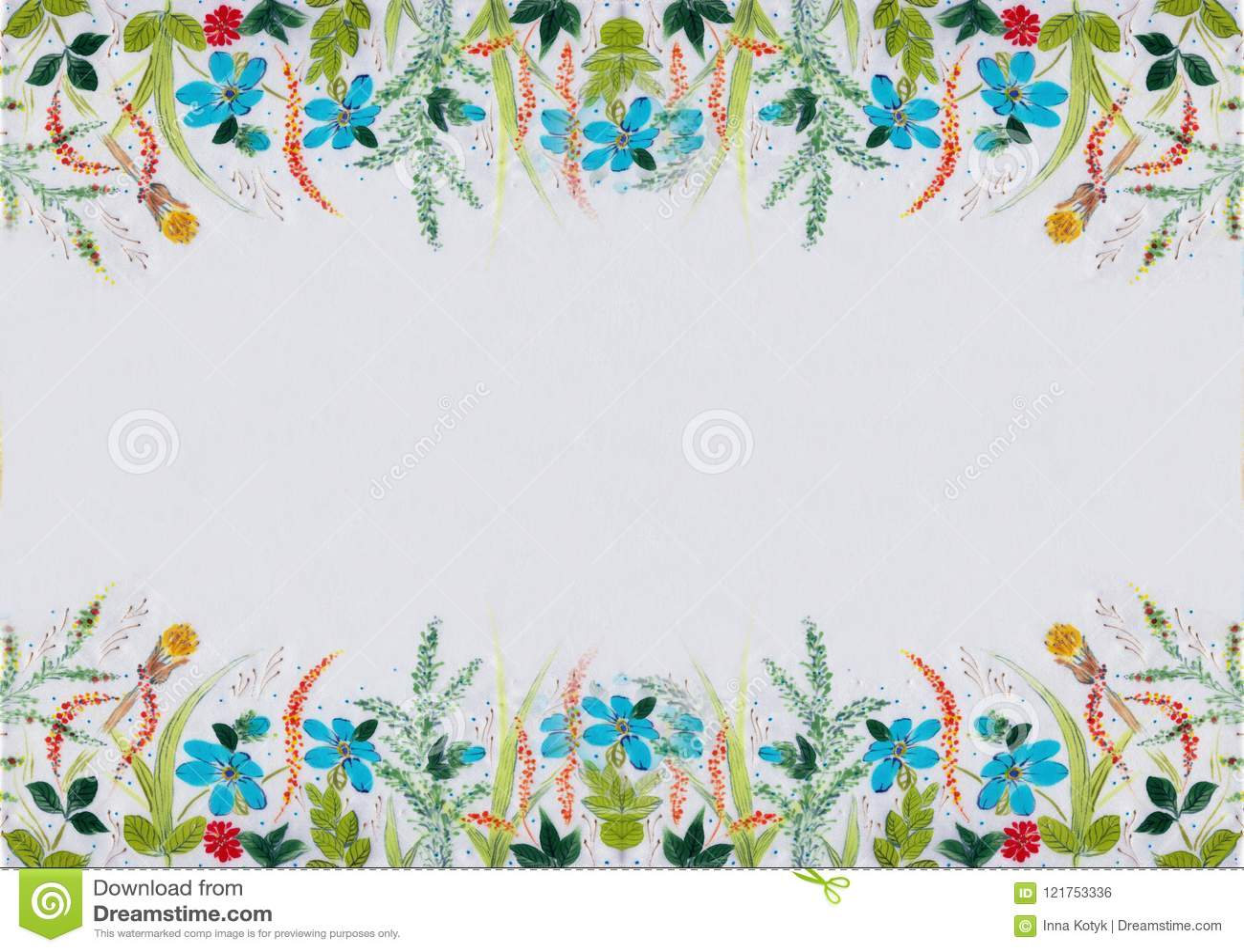 调遣花和草本-在丝绸的装饰构成 细麻花布 在白色背景的装饰构成 花饰 U