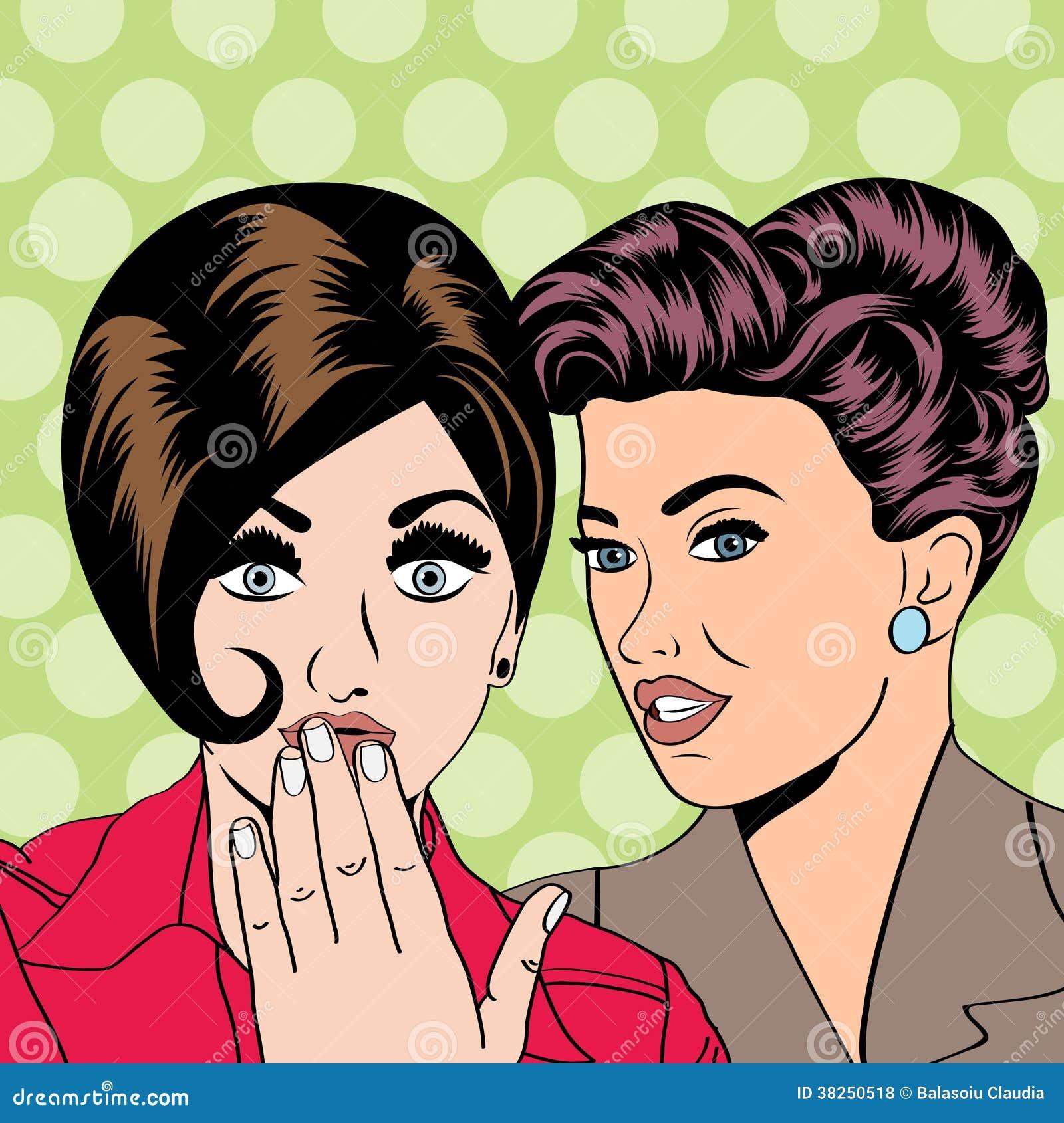 谈话两个年轻的女朋友,可笑的艺术例证
