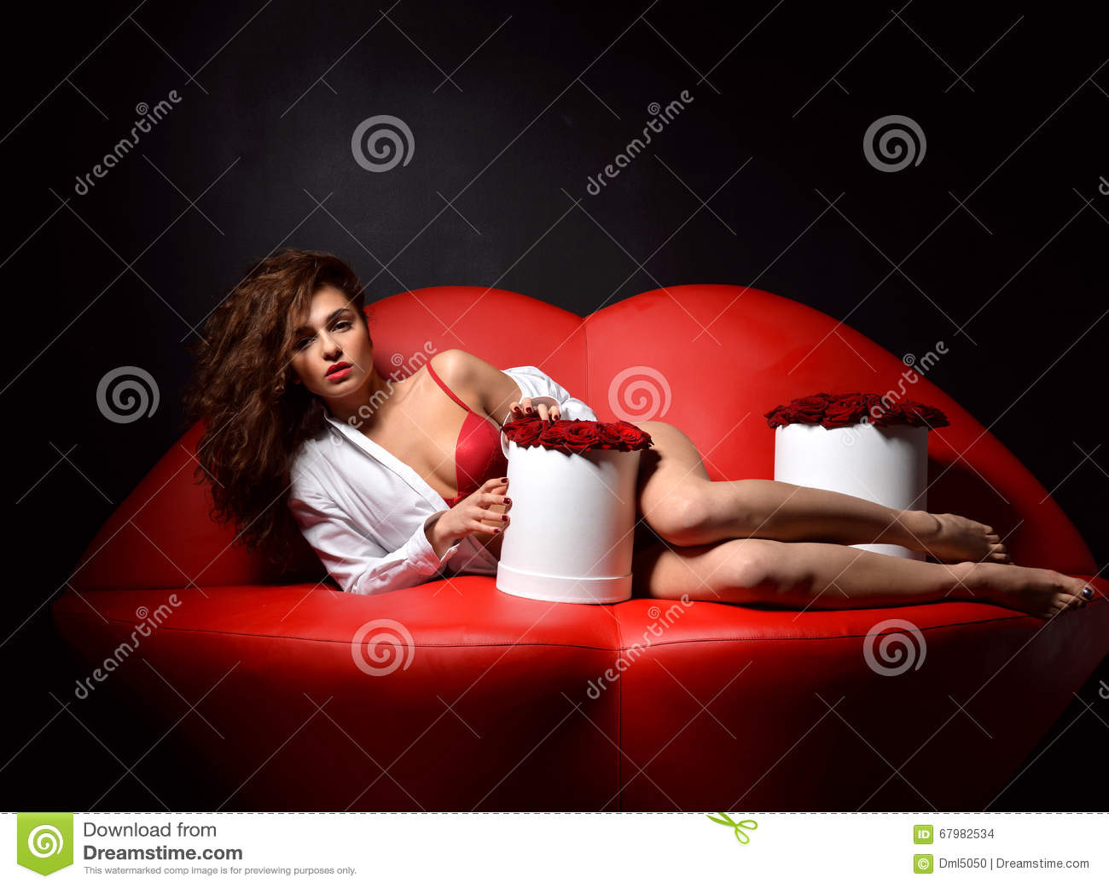 说谎在红色嘴唇沙发c的美丽的豪华时兴的性感的妇女